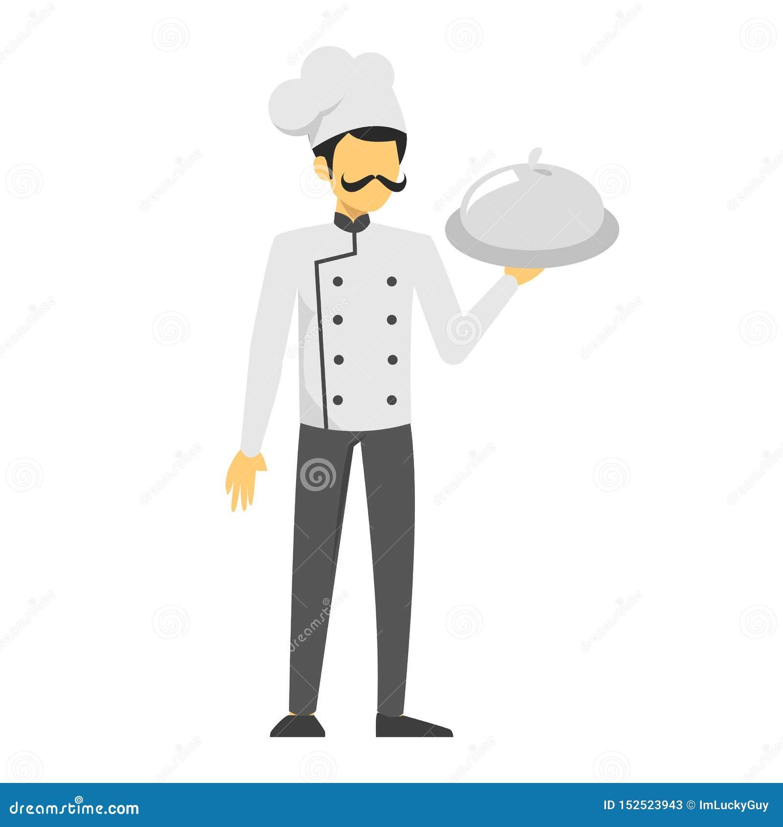 Αρχιμάγειρας ατόμων στο ομοιόμορφο πιάτο εκμετάλλευσης Όμορφο αρσενικό