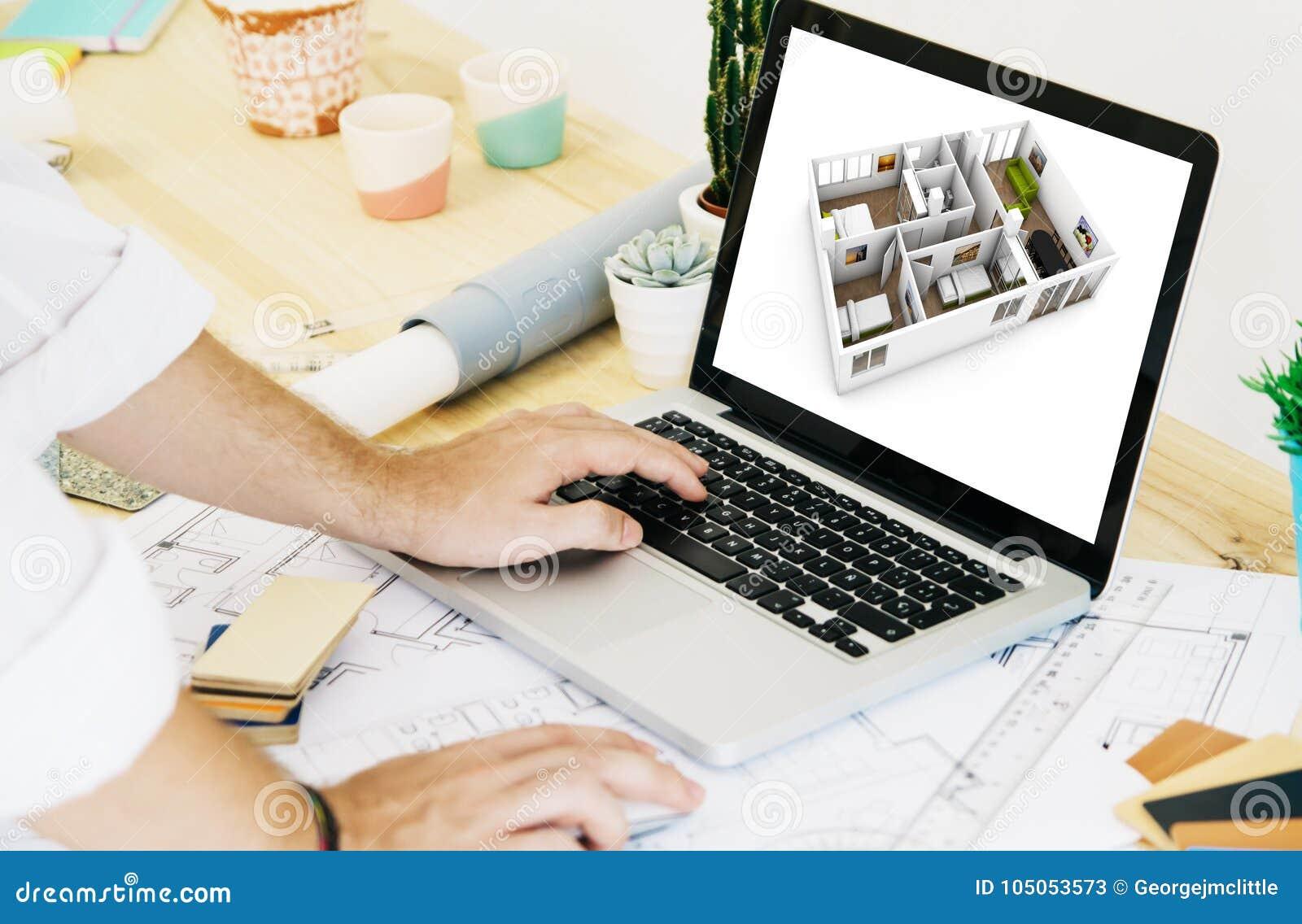 αρχιτέκτονας που εργάζεται με το CAD lap-top