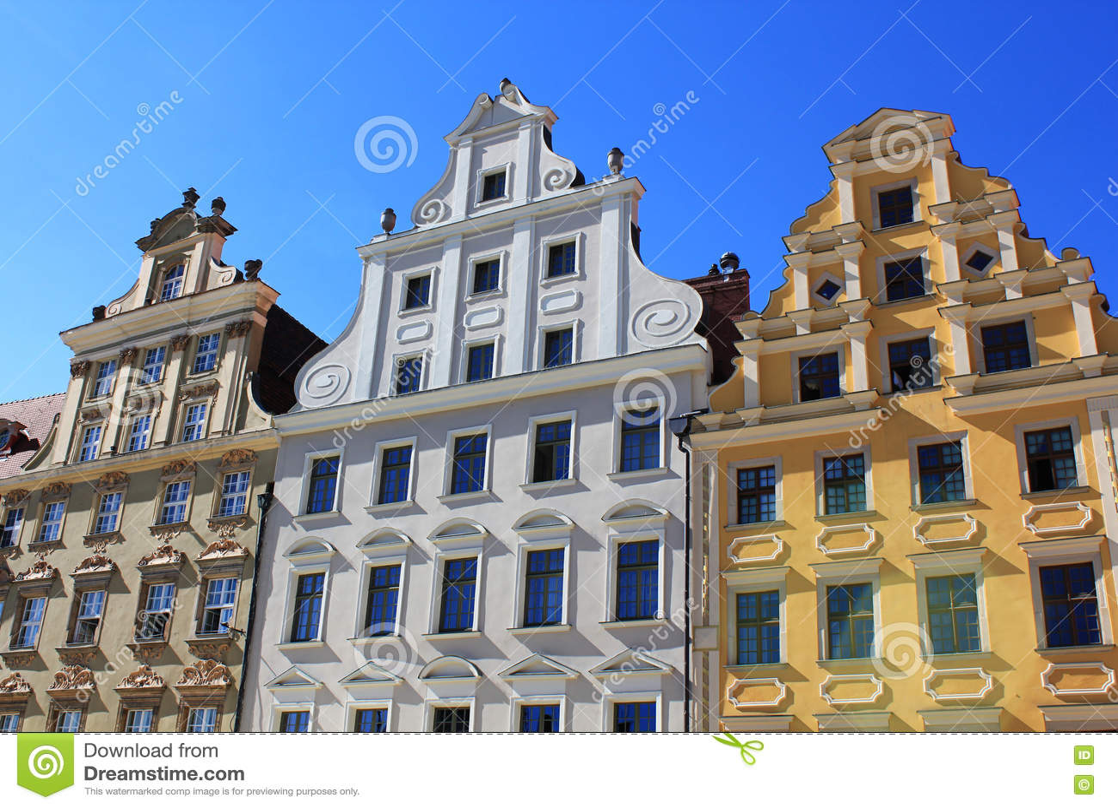 Αρχιτεκτονική Wroclaw, Πολωνία, Ευρώπη Κέντρο της πόλης, ζωηρόχρωμες, ιστορικές τετραγωνικές κατοικίες αγοράς Χαμηλότερη Σιλεσία,