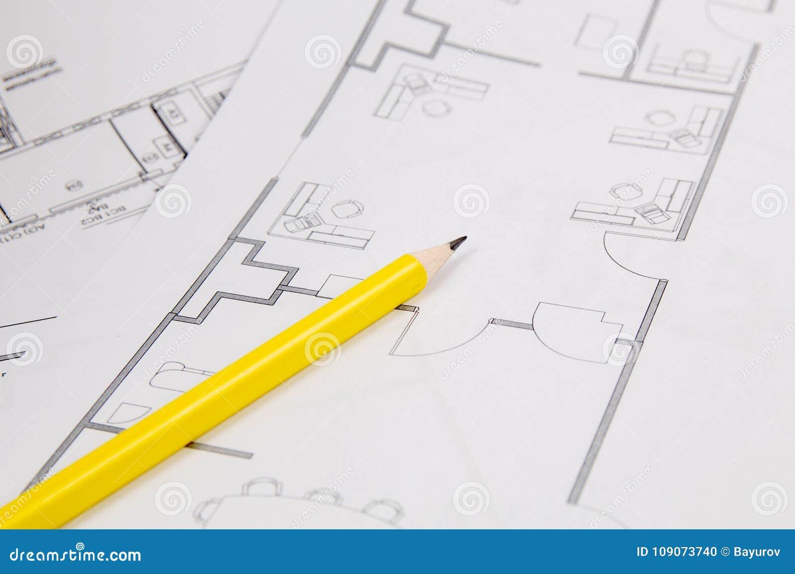 Αρχιτεκτονικό σχέδιο Σχέδια, pancil και σχεδιαγράμματα σπιτιών εφαρμοσμένης μηχανικής