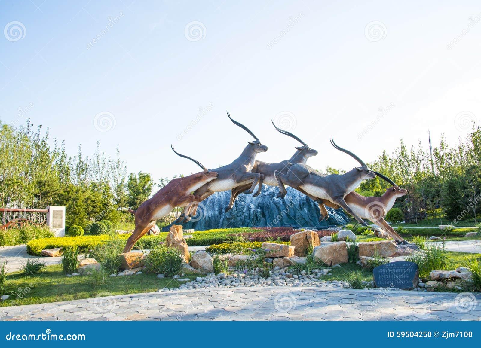 Ασία Κίνα, Wuqing Tianjin, πράσινο EXPO, ελάφια τρεξίματος