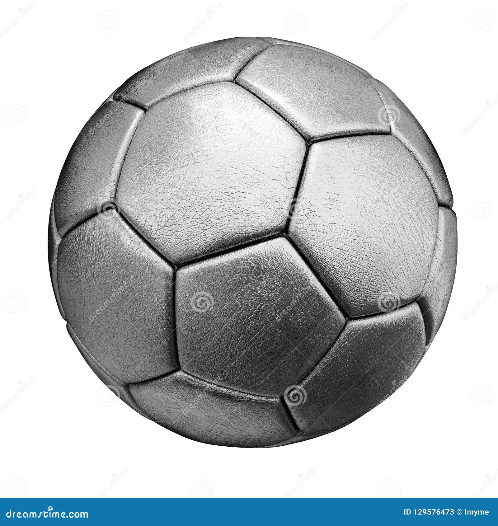 ασημένια σφαίρα ποδοσφαίρου που απομονώνεται στην άσπρη ανασκόπηση