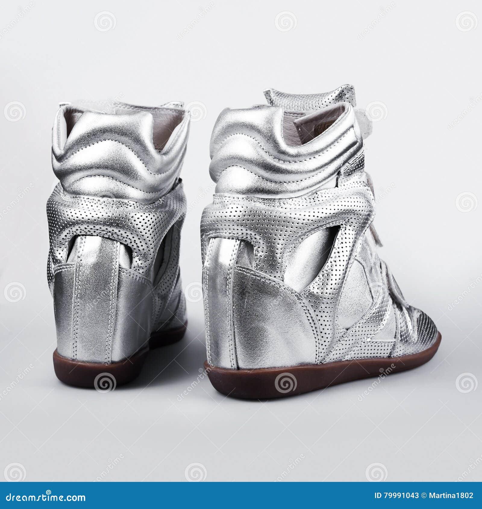 f75a41551f6 Ασημένιες γυναίκες παπουτσιών παπουτσιών ιταλικές Στοκ Εικόνα ...