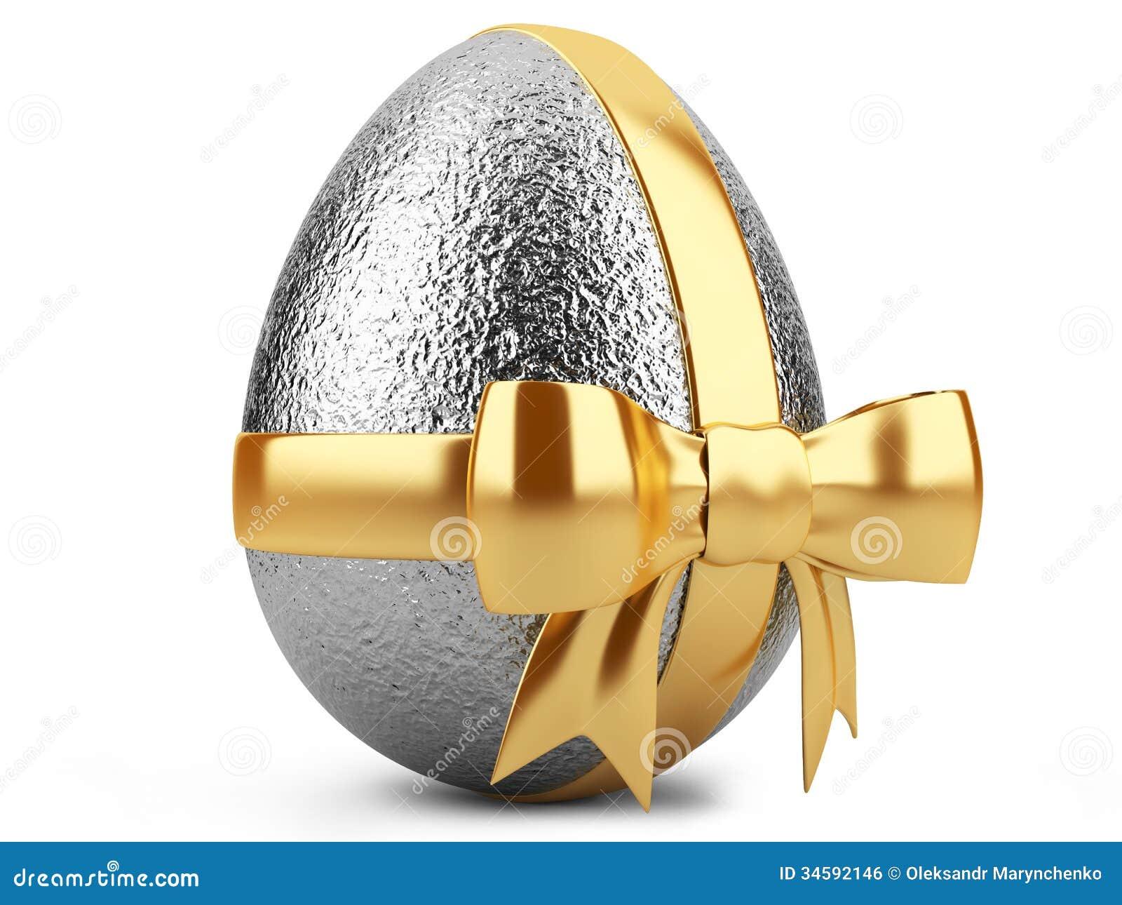 Ασημένιο αυγό Πάσχας με τη χρυσή κορδέλλα