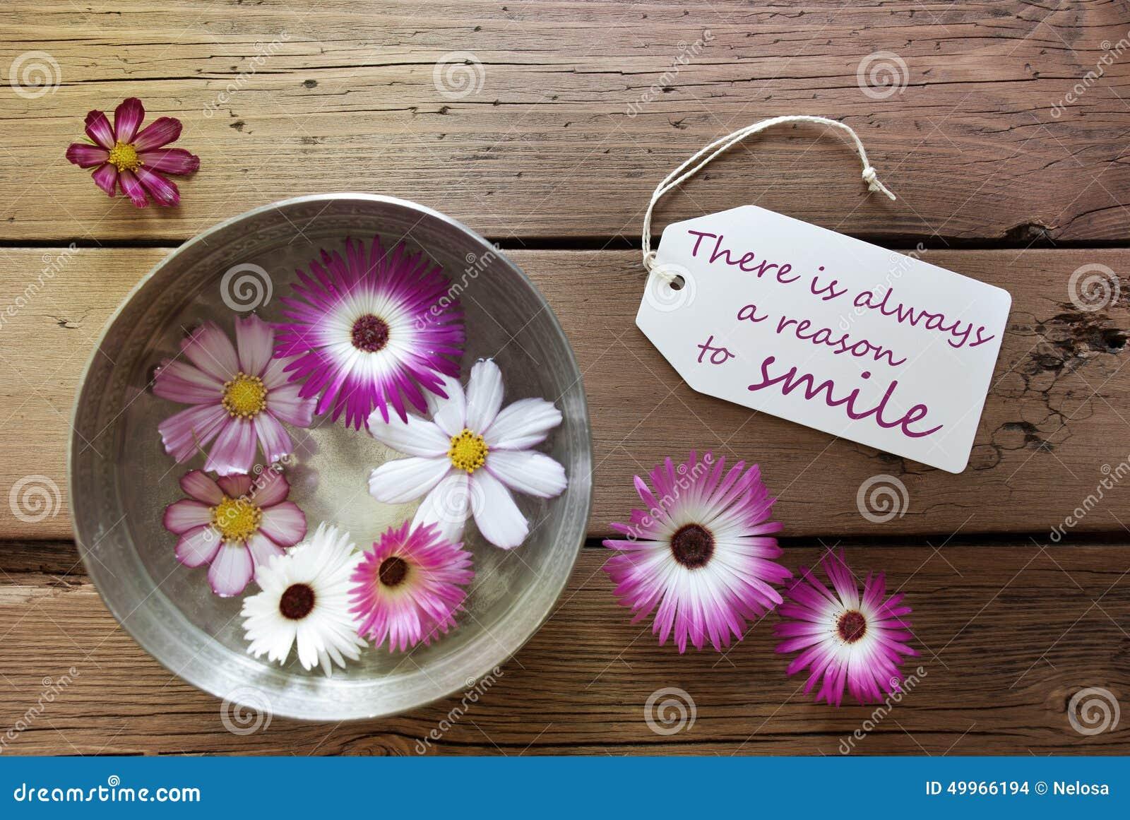 Ασημένιο κύπελλο με τα άνθη Cosmea με το απόσπασμα ζωής υπάρχει πάντα ένας λόγος να χαμογελάσει