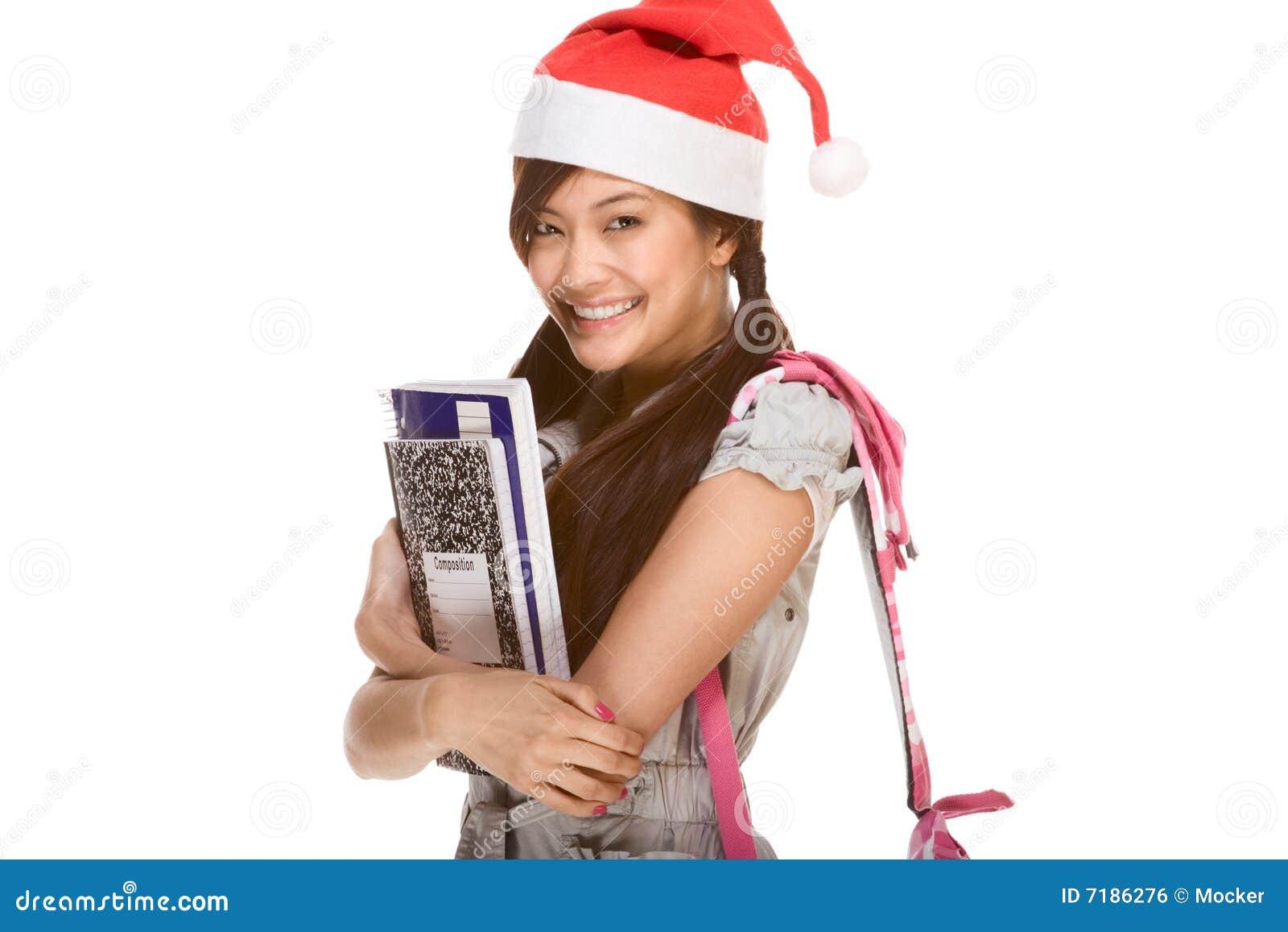 ασιατικός σπουδαστής santa σημειωματάριων καπέλων Χριστουγέννων