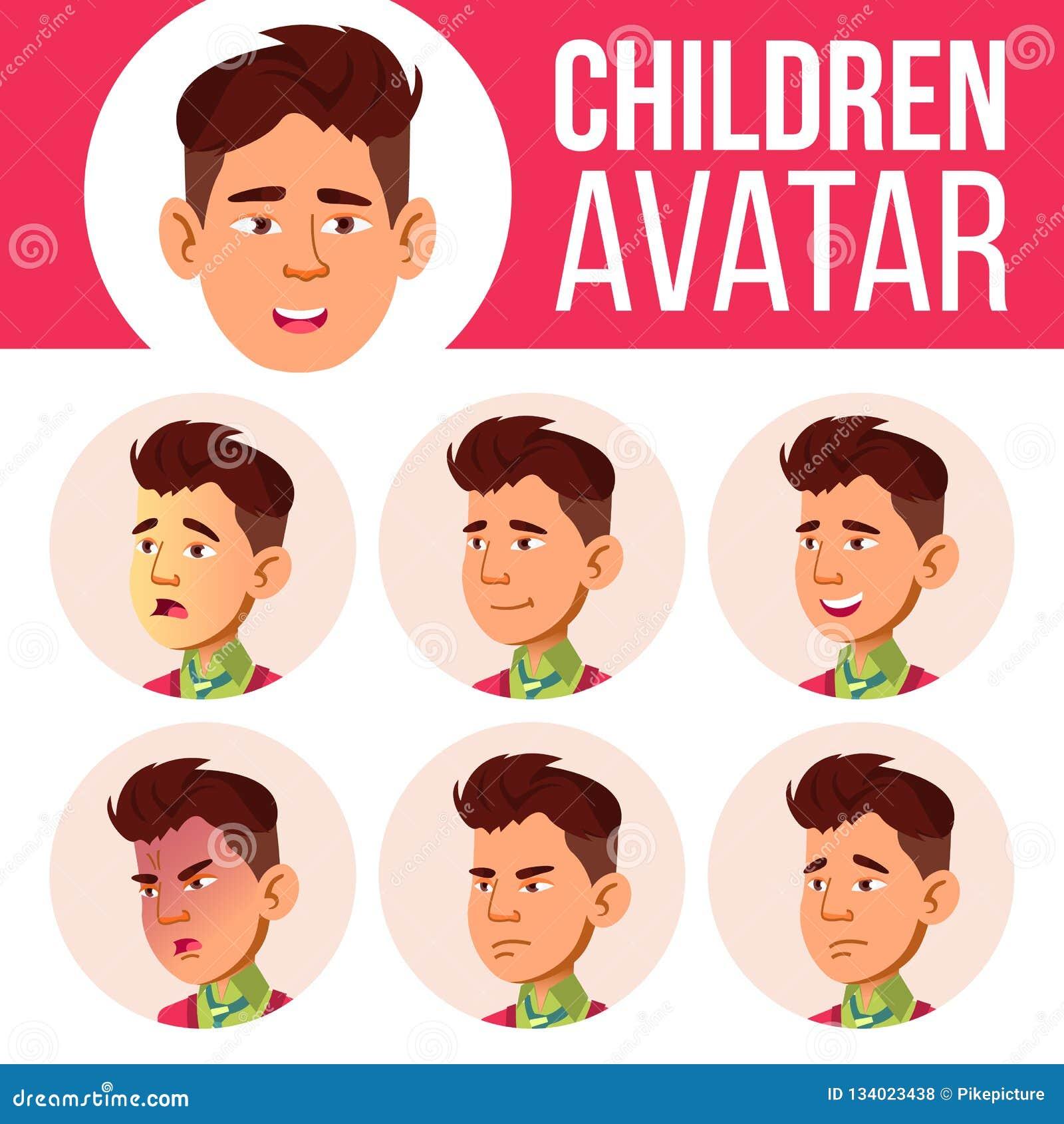 Ασιατικό αγοριών διάνυσμα παιδιών ειδώλων καθορισμένο Γυμνάσιο Αντιμετωπίστε τις συγκινήσεις Παιδιά, νέοι Ζωή, συναισθηματική ευτ