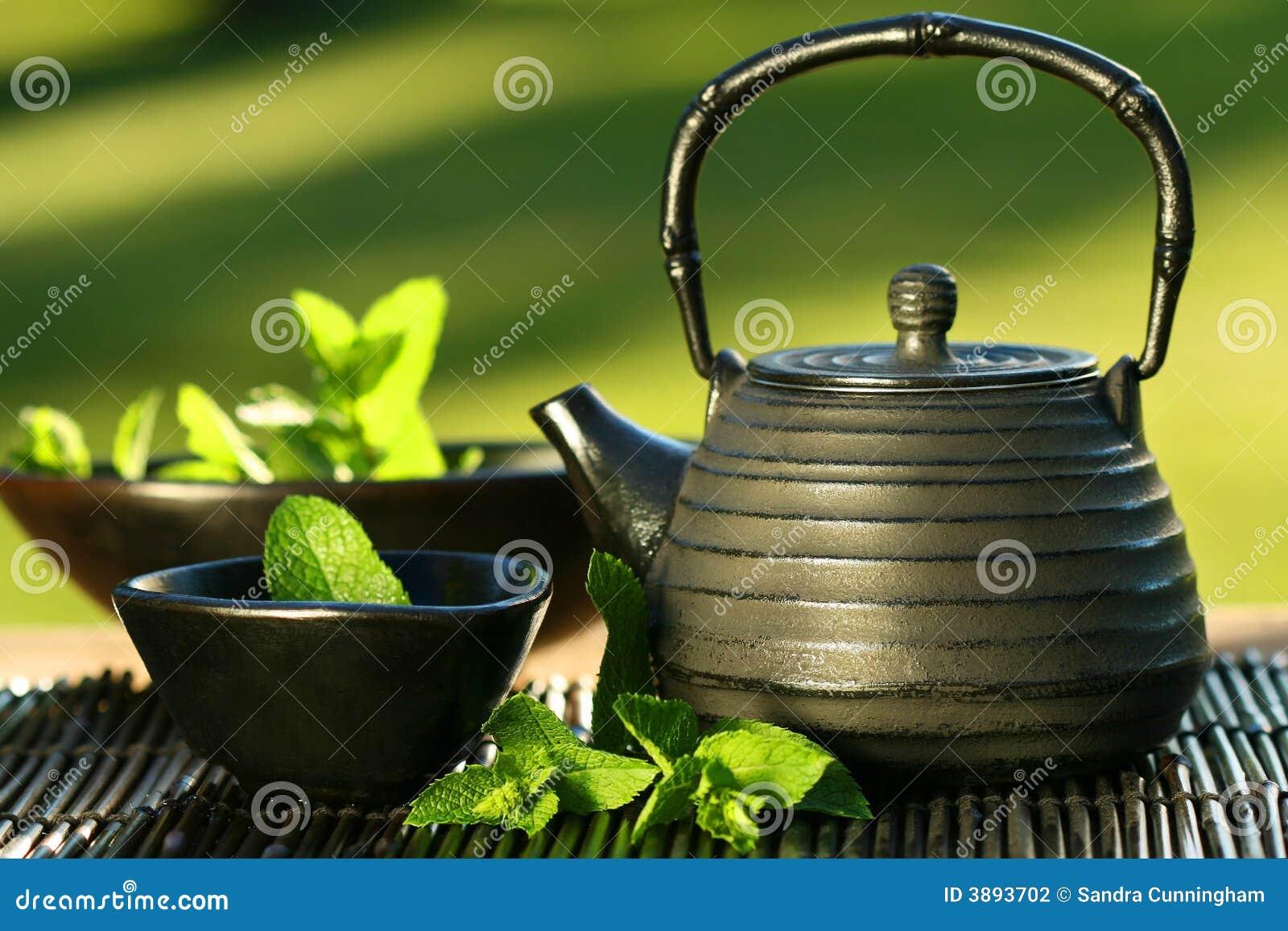ασιατικό μαύρο teapot τσαγιού μεντών