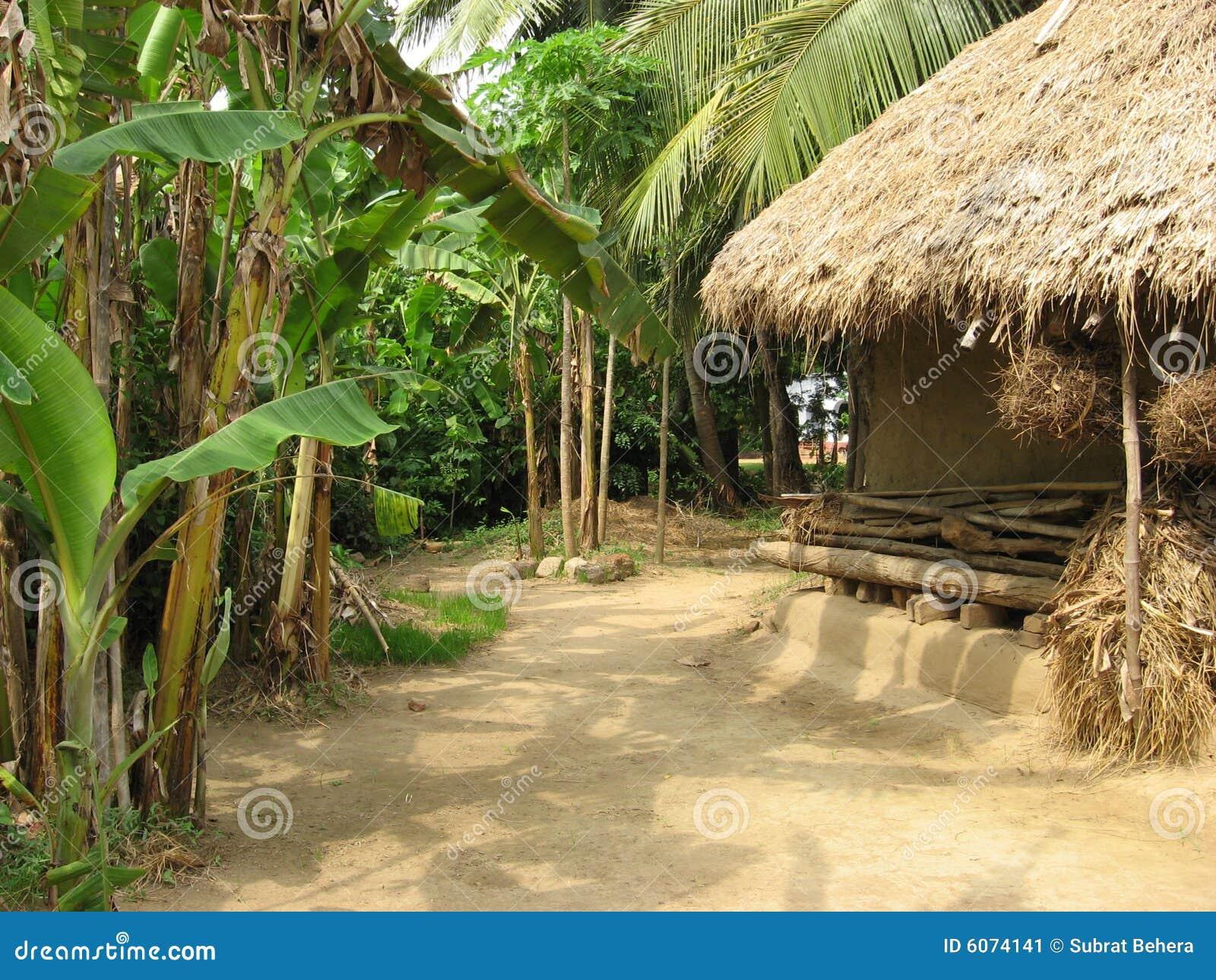 ασιατικό χωριό λάσπης σπιτιών