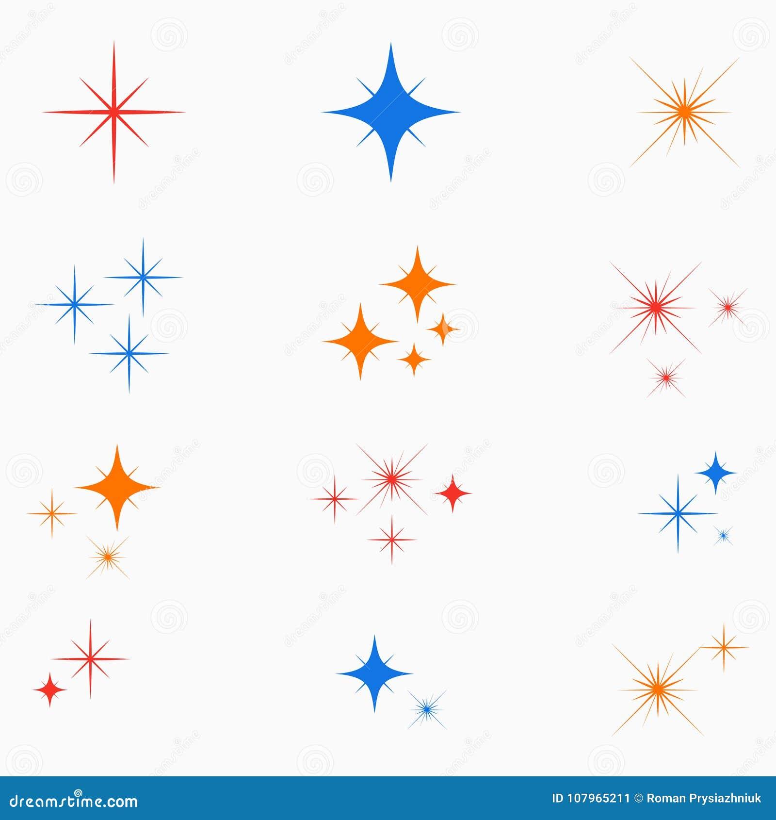 Αστέρια σπινθηρίσματος Σύνολο καμμένος σημαδιού ελαφριάς επίδρασης χρώματος Εικονίδιο λάμψεων starburst διάνυσμα