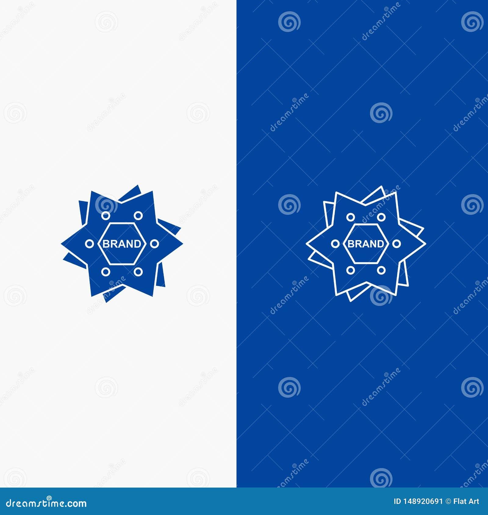 Αστέρι, μαρκάρισμα, εμπορικό σήμα, λογότυπο, γραμμή μορφής και στερεά γραμμή εμβλημάτων εικονιδίων Glyph μπλε και στερεό μπλε έμβ