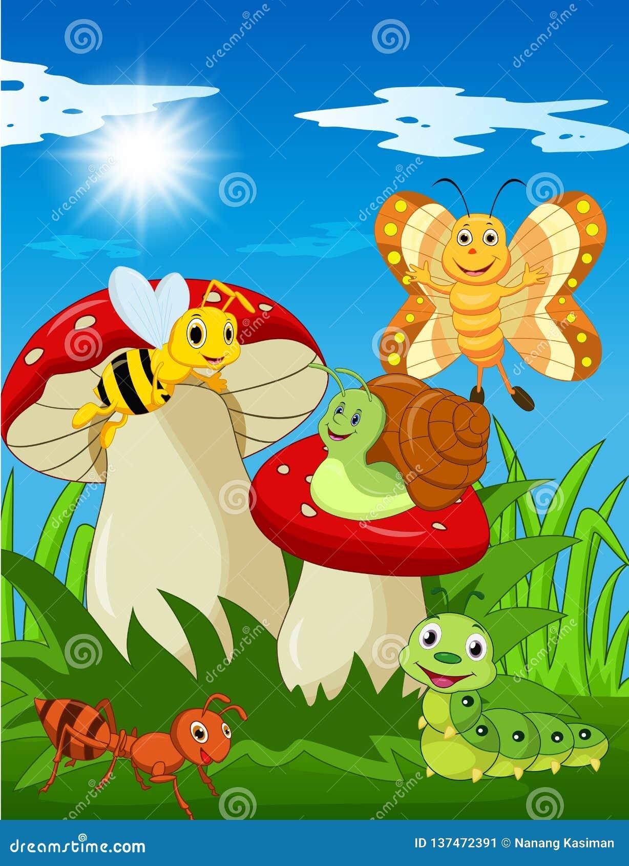 Αστεία έντομα κινούμενων σχεδίων με το μανιτάρι