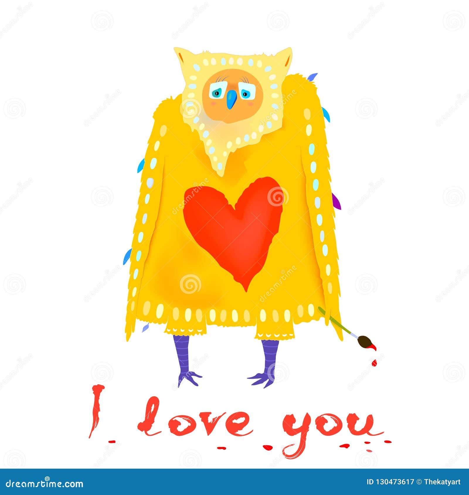αστεία αγάπη χαρακτήρα Κουκουβάγια κινούμενων σχεδίων με τη μορφή και το κείμενο καρδιών σ  αγαπώ βαλεντίνος χαιρετισμού s & επίσ