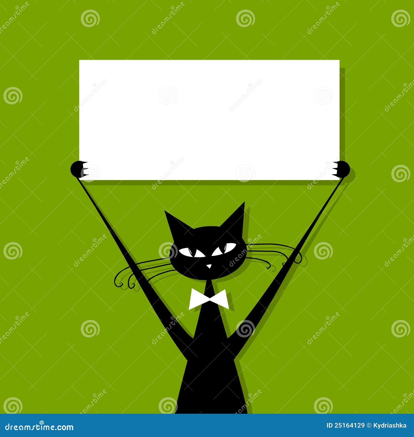 Αστεία γάτα με τη επαγγελματική κάρτα, θέση για το κείμενό σας
