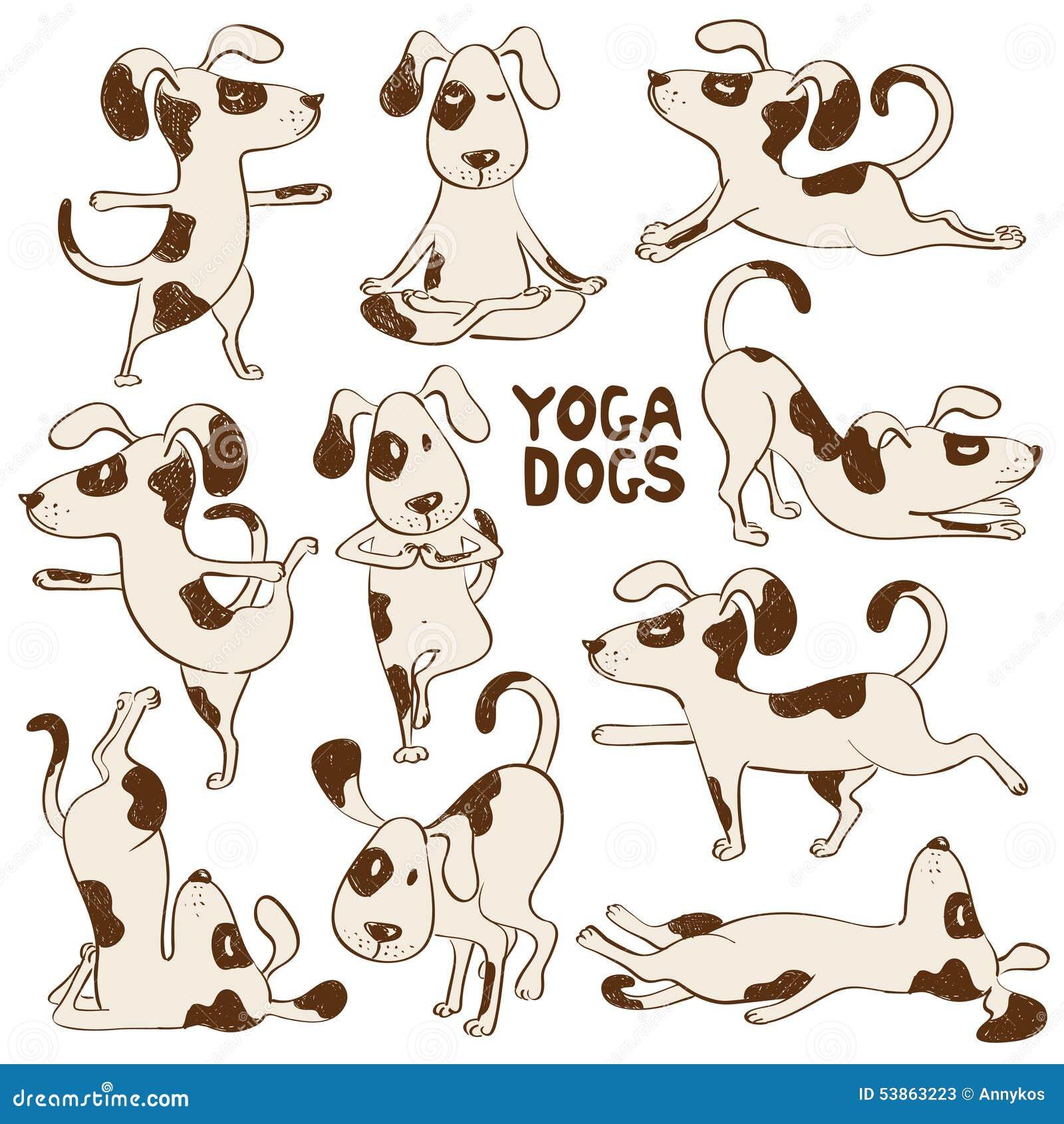 Αστεία εικονίδια σκυλιών που κάνουν τη θέση γιόγκας
