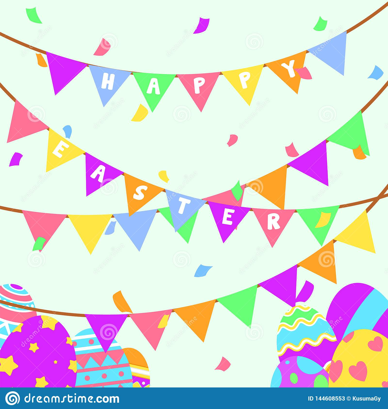 Αστεία και ζωηρόχρωμα ευτυχή ευχετήρια κάρτα και κόμμα Πάσχας με την απεικόνιση των αυγών, του εμβλήματος, της σημαίας, του κόμμα