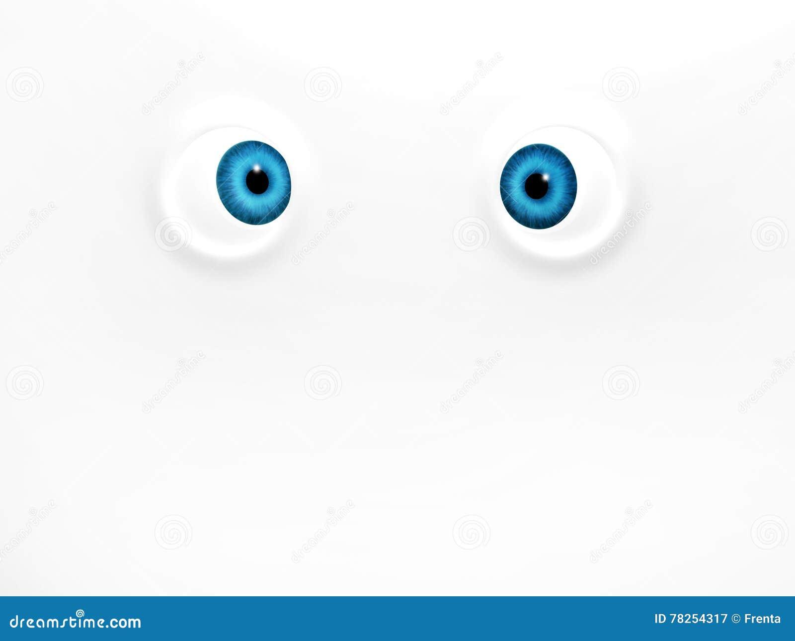 Αστεία μπλε μάτια στο άσπρο υπόβαθρο