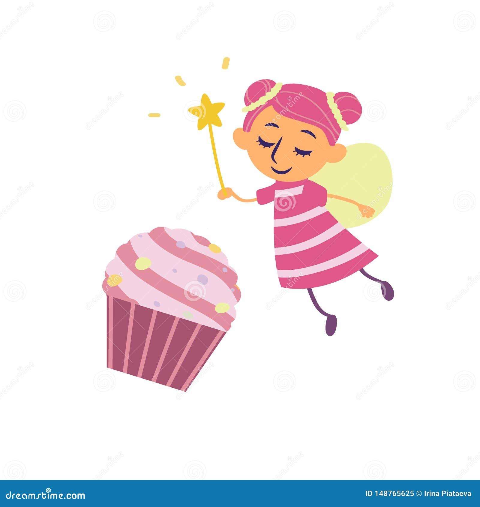 Αστεία νεράιδα και cupcake στο ύφος κινούμενων σχεδίων που απομονώνεται στο άσπρο υπόβαθρο