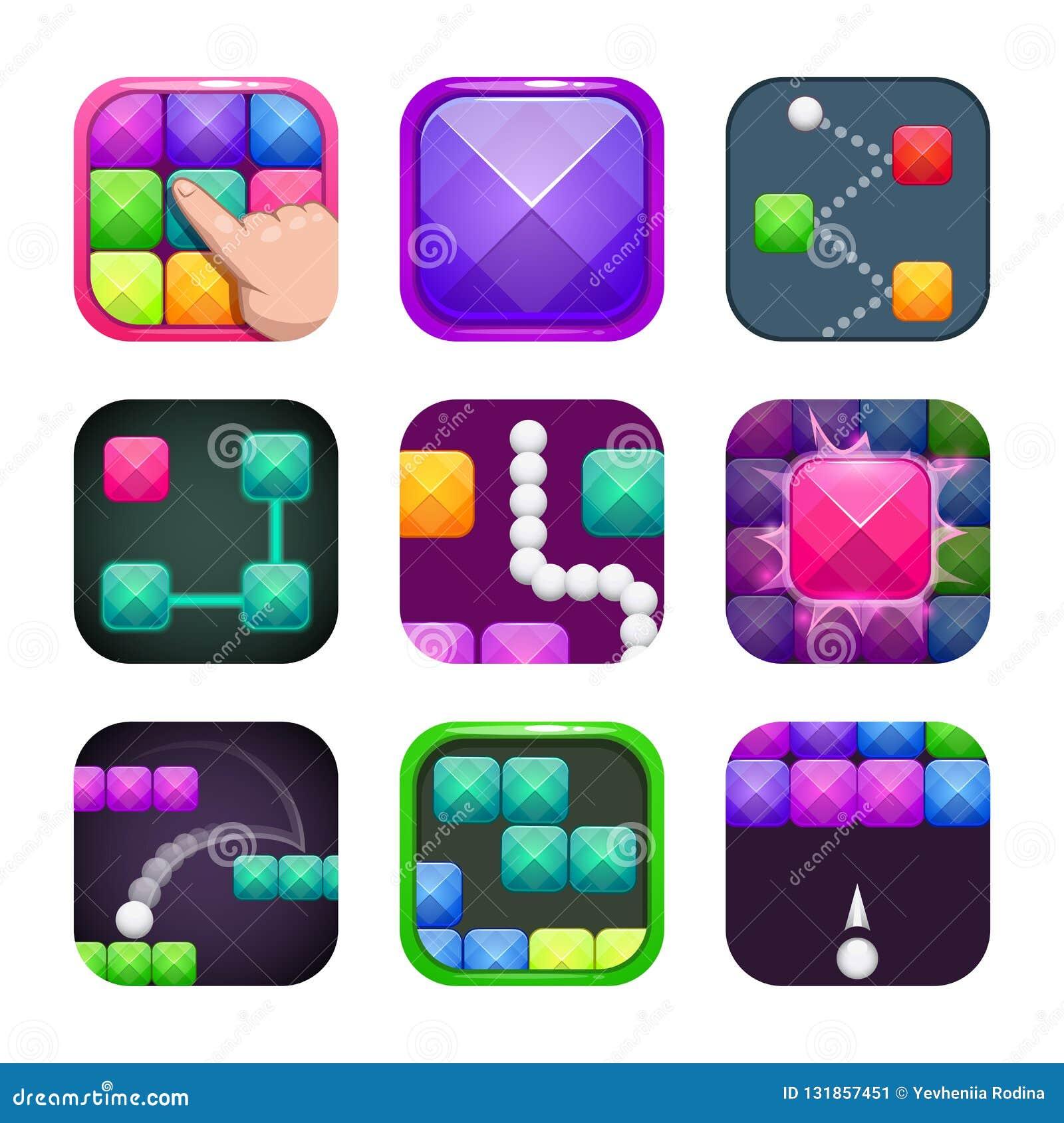 Αστεία φωτεινά ζωηρόχρωμα τετραγωνικά app εικονίδια καθορισμένα Παραδείγματα λογότυπων καταστημάτων εφαρμογής