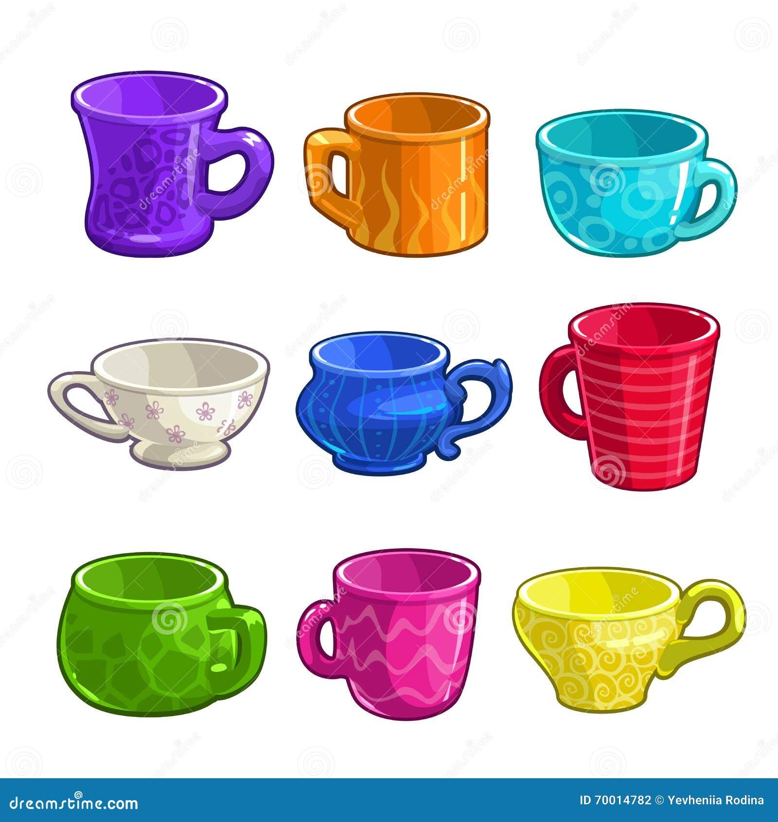 Αστεία φλυτζάνια τσαγιού και καφέ κινούμενων σχεδίων ζωηρόχρωμα