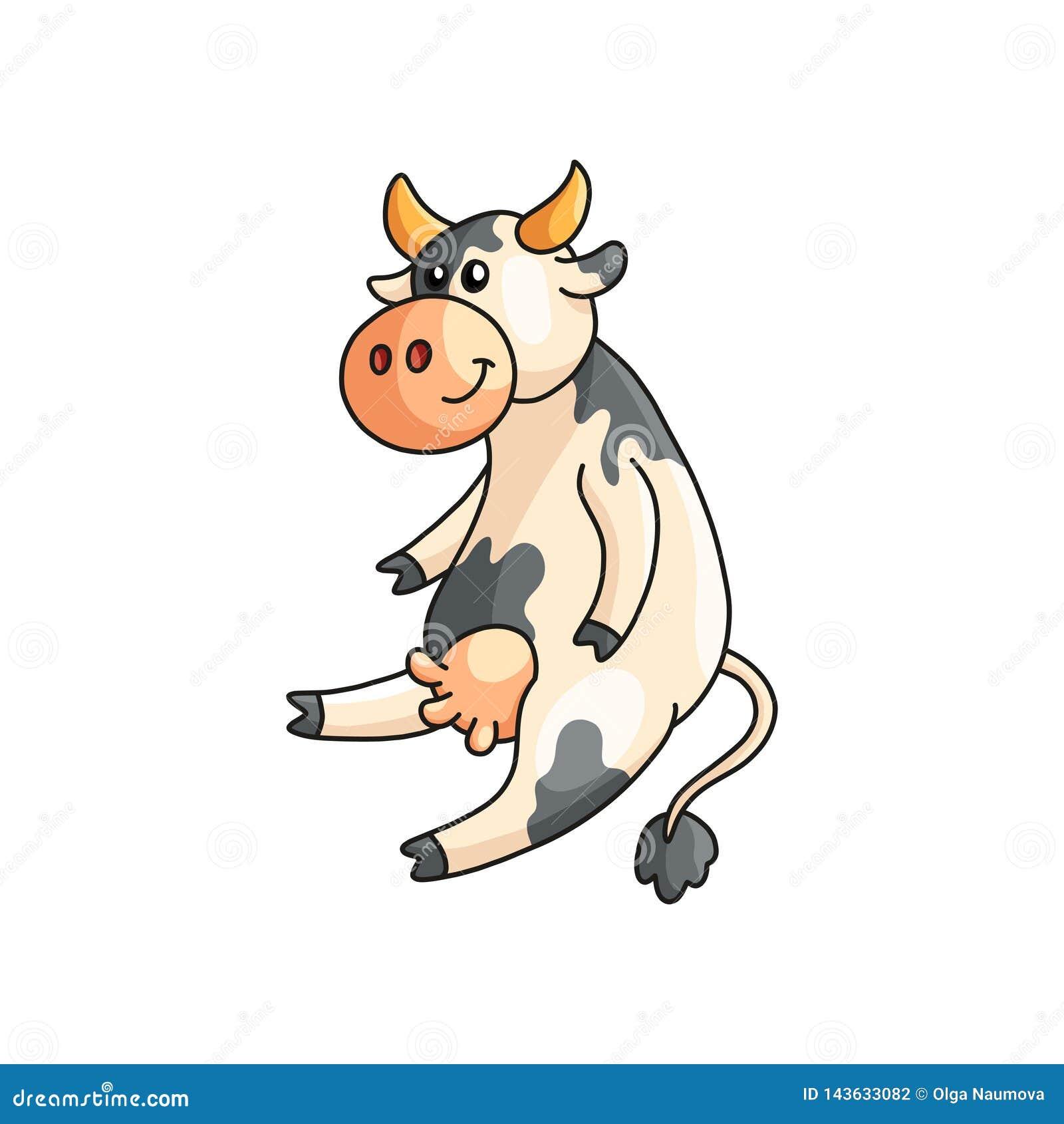 Αστεία χαμόγελο επισημασμένα συνεδρίαση και άκουσμα αγελάδων που απομονώνονται στο λευκό