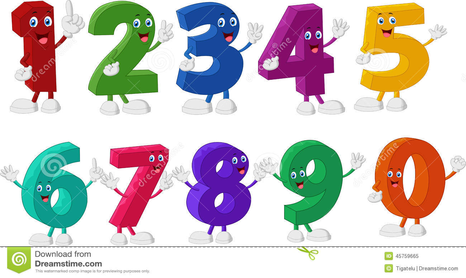 Αστείοι χαρακτήρες κινουμένων σχεδίων αριθμών