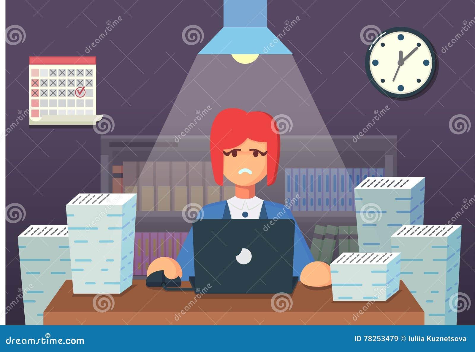 Αστείος επίπεδος χαρακτήρας κινουμένων σχεδίων Κουρασμένη συνεδρίαση εργαζομένων γραφείων και εργασία όλη τη νύχτα επίσης corel σ