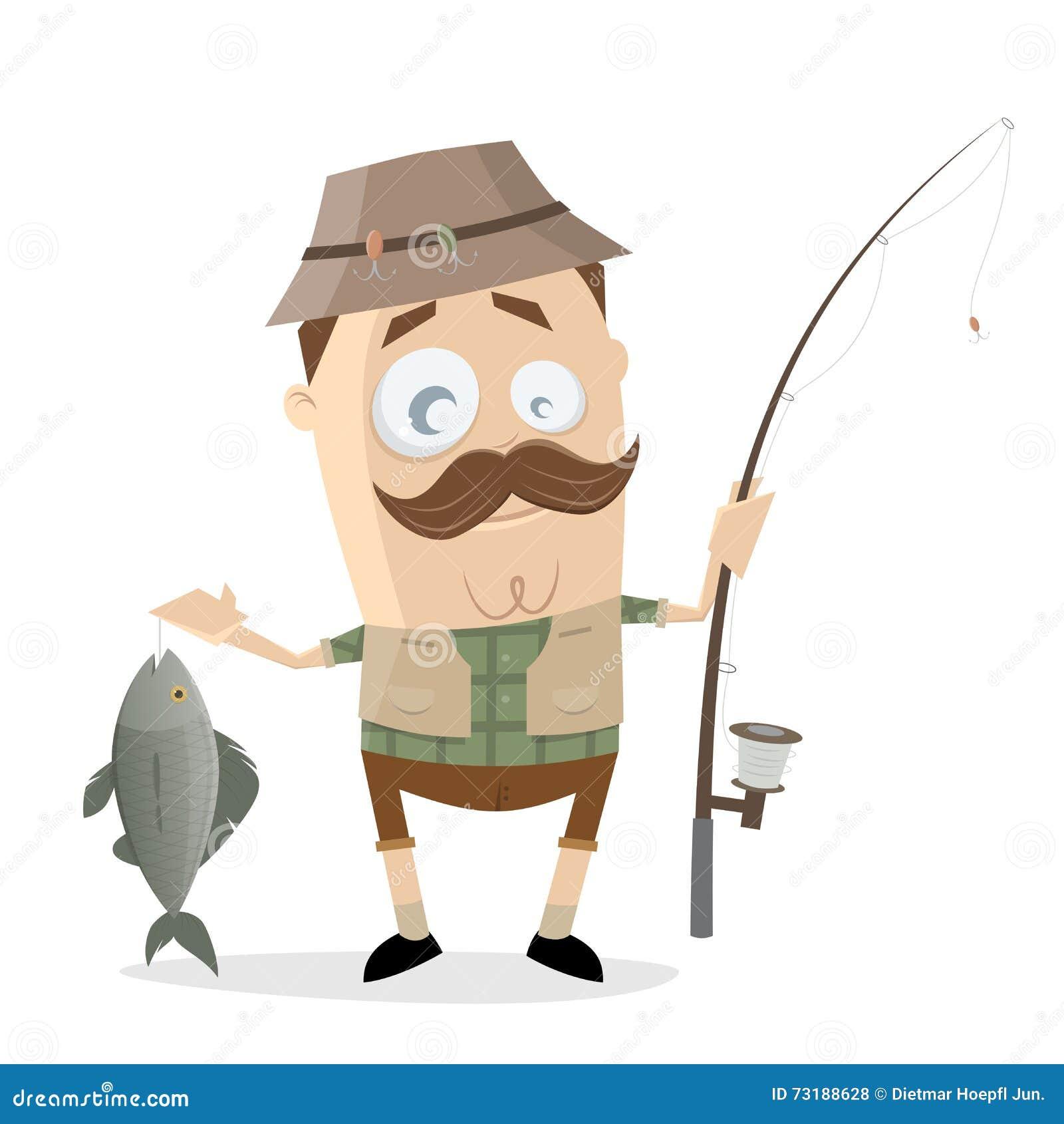 Αστείος ψαράς κινούμενων σχεδίων με μια μεγάλη ράβδο ψαριών και αλιείας