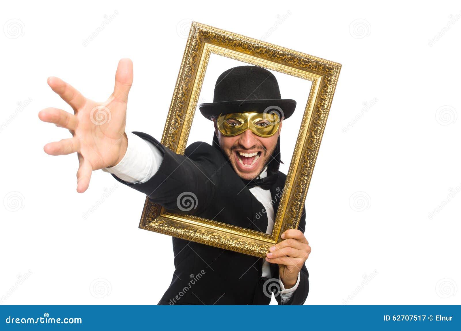 Αστείο άτομο με το πλαίσιο εικόνων στο λευκό