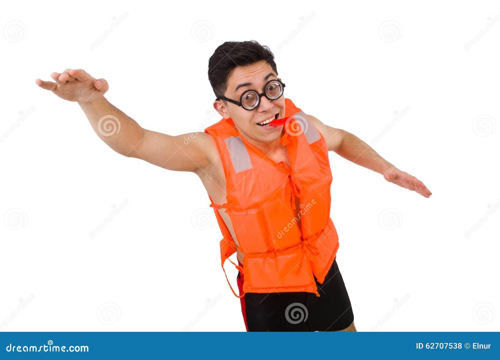 Αστείο άτομο που φορά την πορτοκαλιά φανέλλα ασφάλειας
