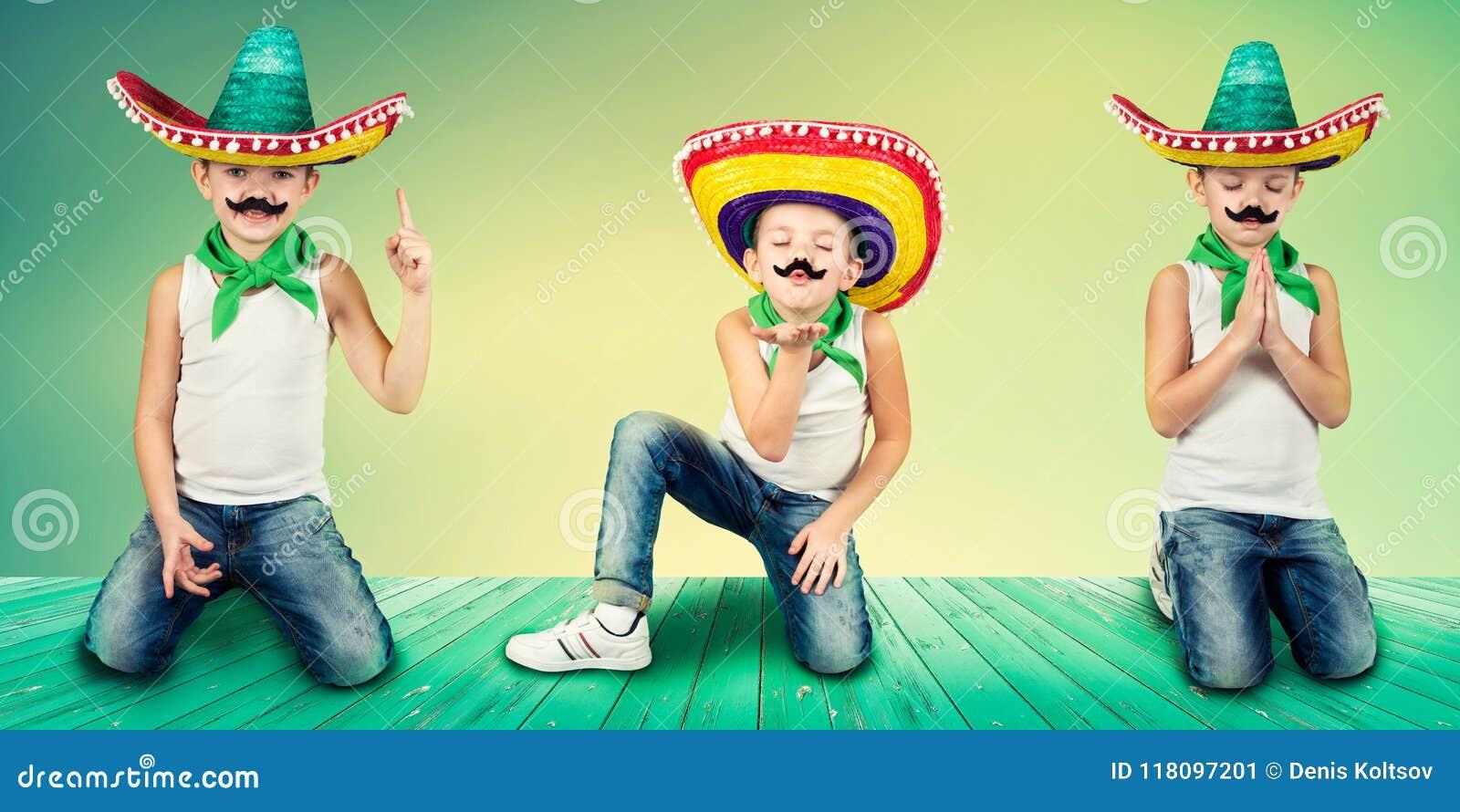 Αστείο αγόρι στο μεξικάνικο σομπρέρο κολάζ
