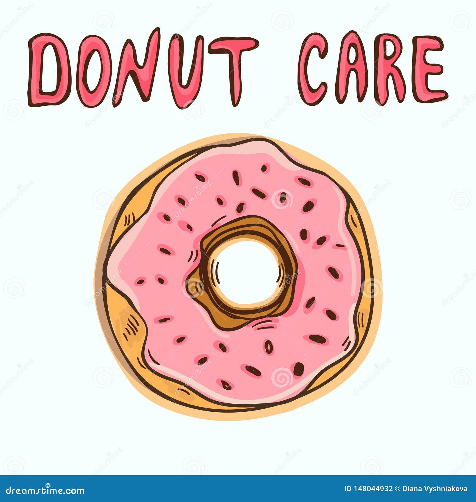 Αστείο πρότυπο αφισών ή μπλουζών με doughnut κινούμενων σχεδίων και doughnut κειμένων την προσοχή
