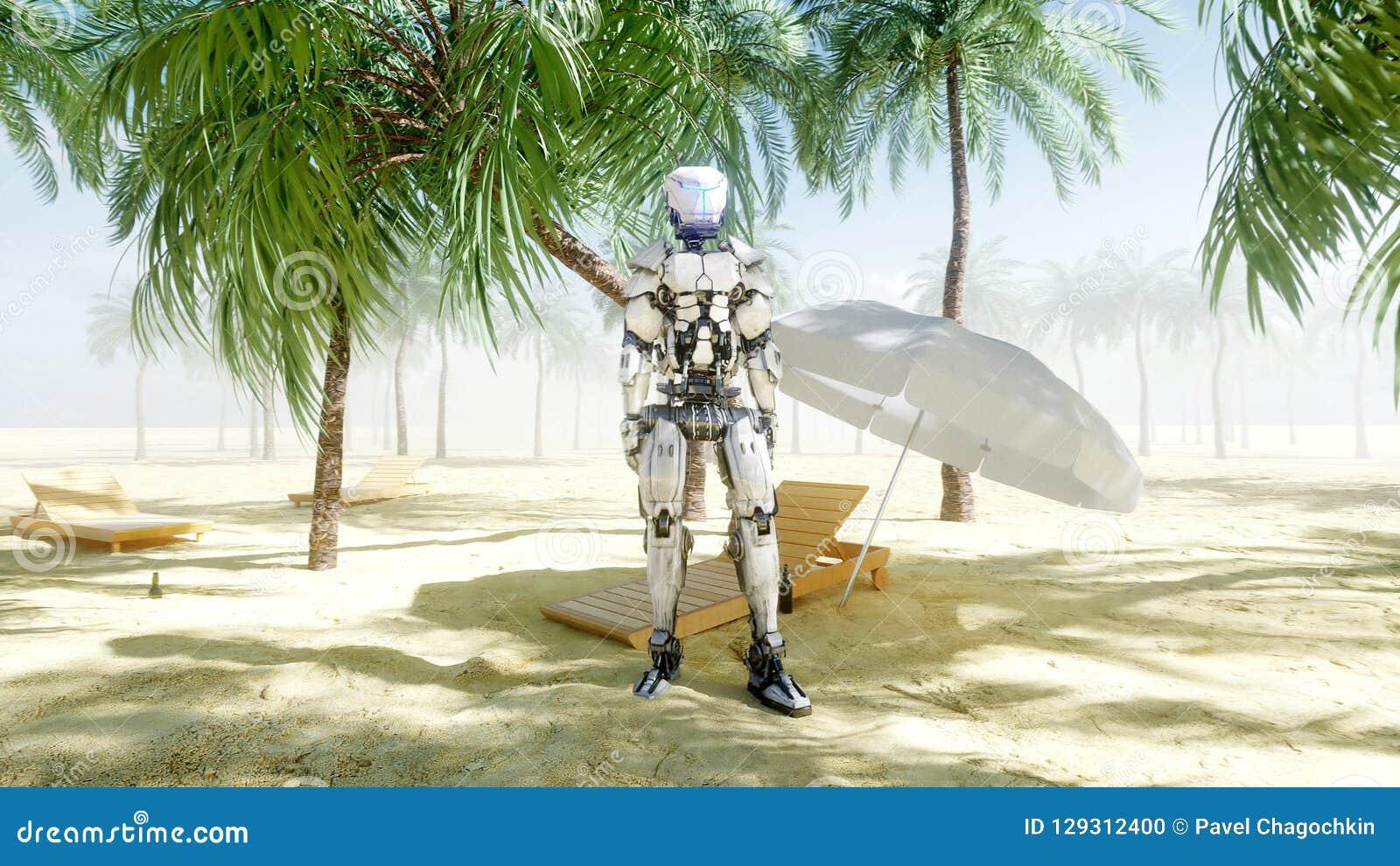 Αστείο ρομπότ που χορεύει στην ηλιόλουστη παραλία Έννοια τουρισμού και υπολοίπου τρισδιάστατη απόδοση