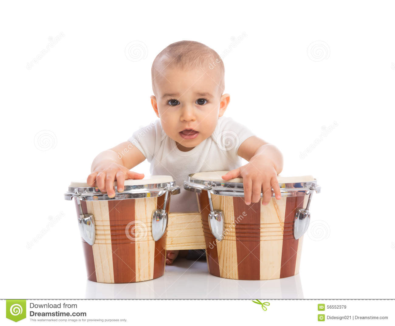 Download Αστείο χαμογελώντας μωρό με τα Bongos Στοκ Εικόνα - εικόνα από εκμάθηση, γυμνός: 56552379