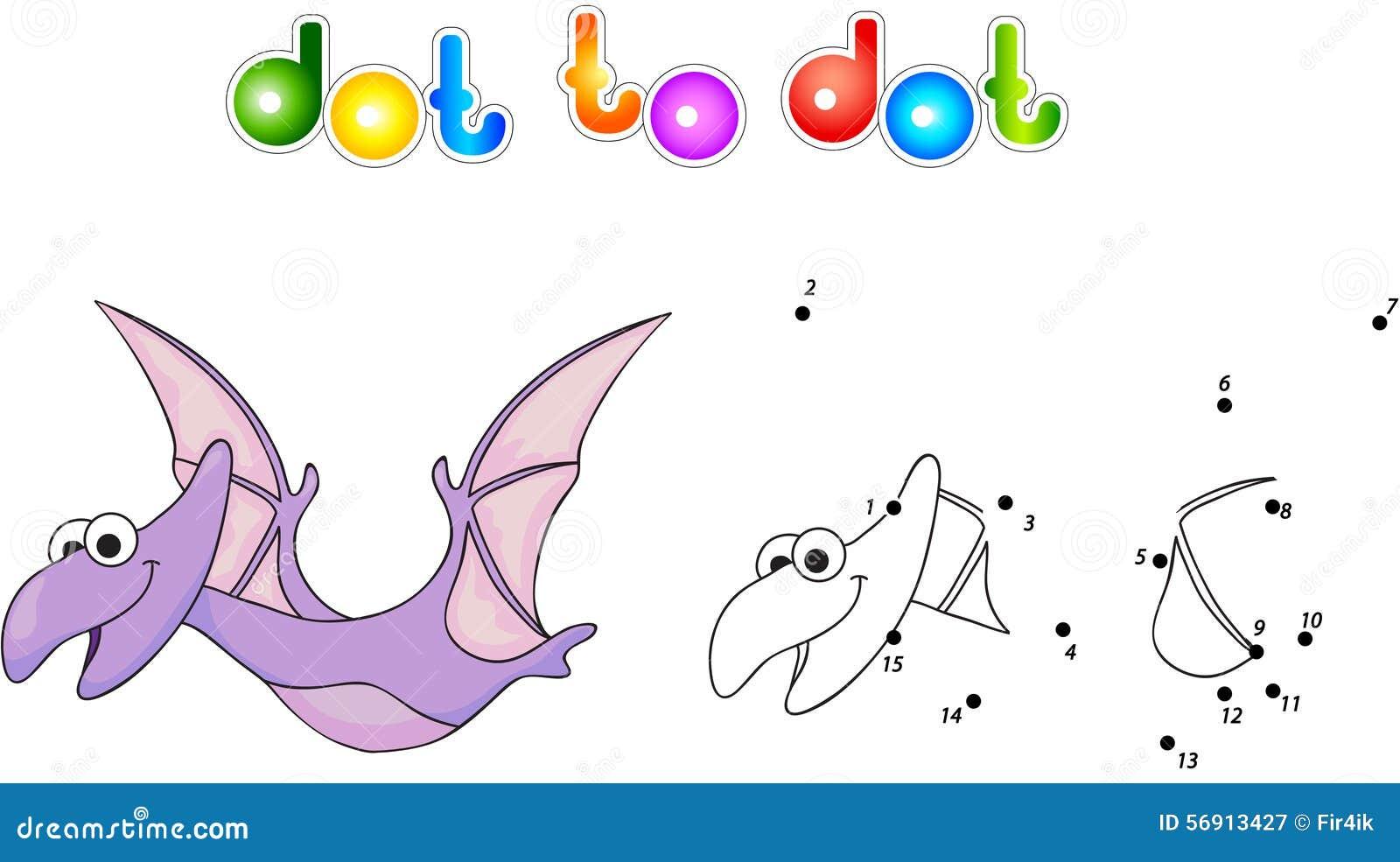 Αστείο χαριτωμένο pterodactyl Εκπαιδευτικό παιχνίδι για τα παιδιά Συνδέστε το ψηφίο
