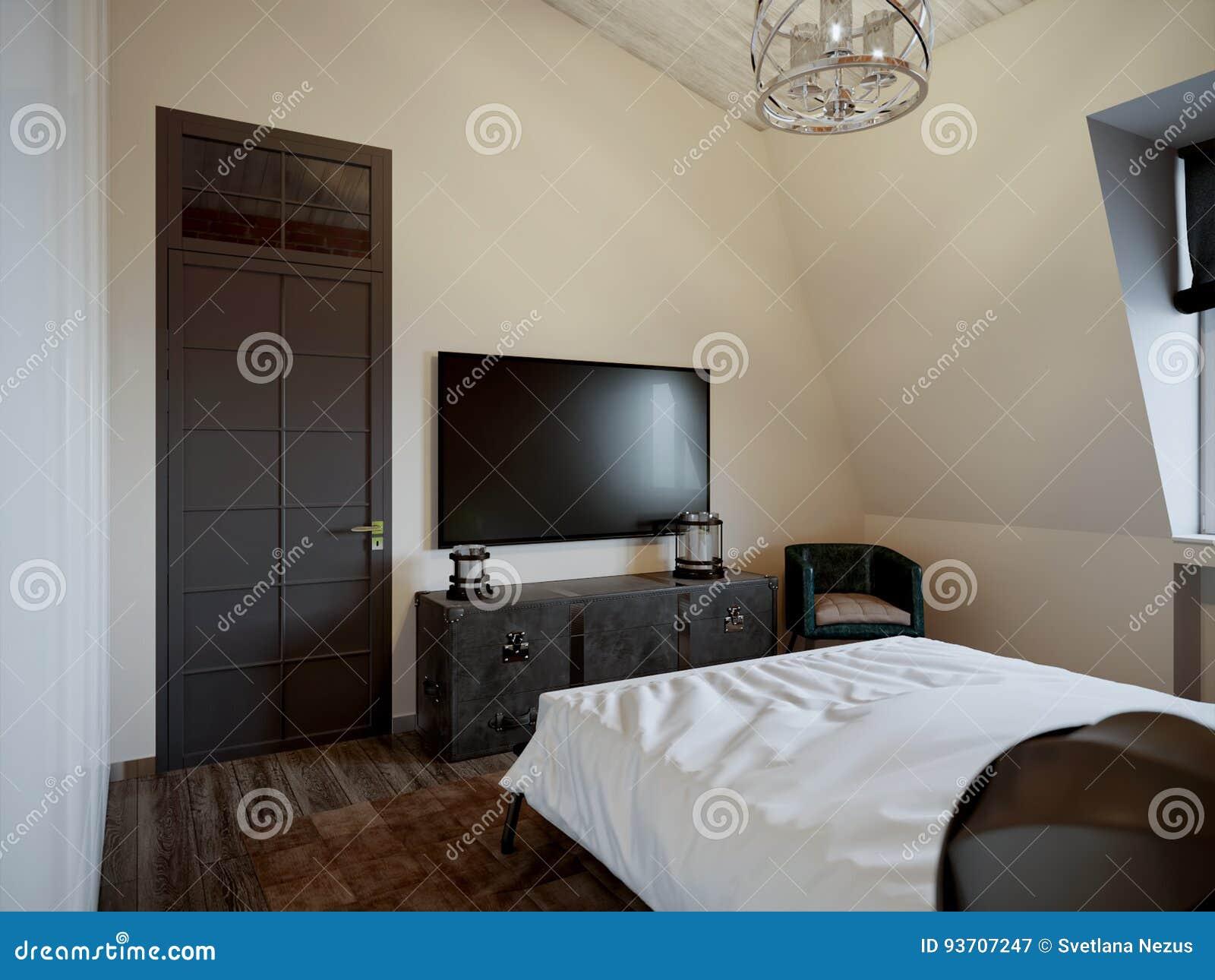 Αστική σύγχρονη σύγχρονη Σκανδιναβική κρεβατοκάμαρα σοφιτών