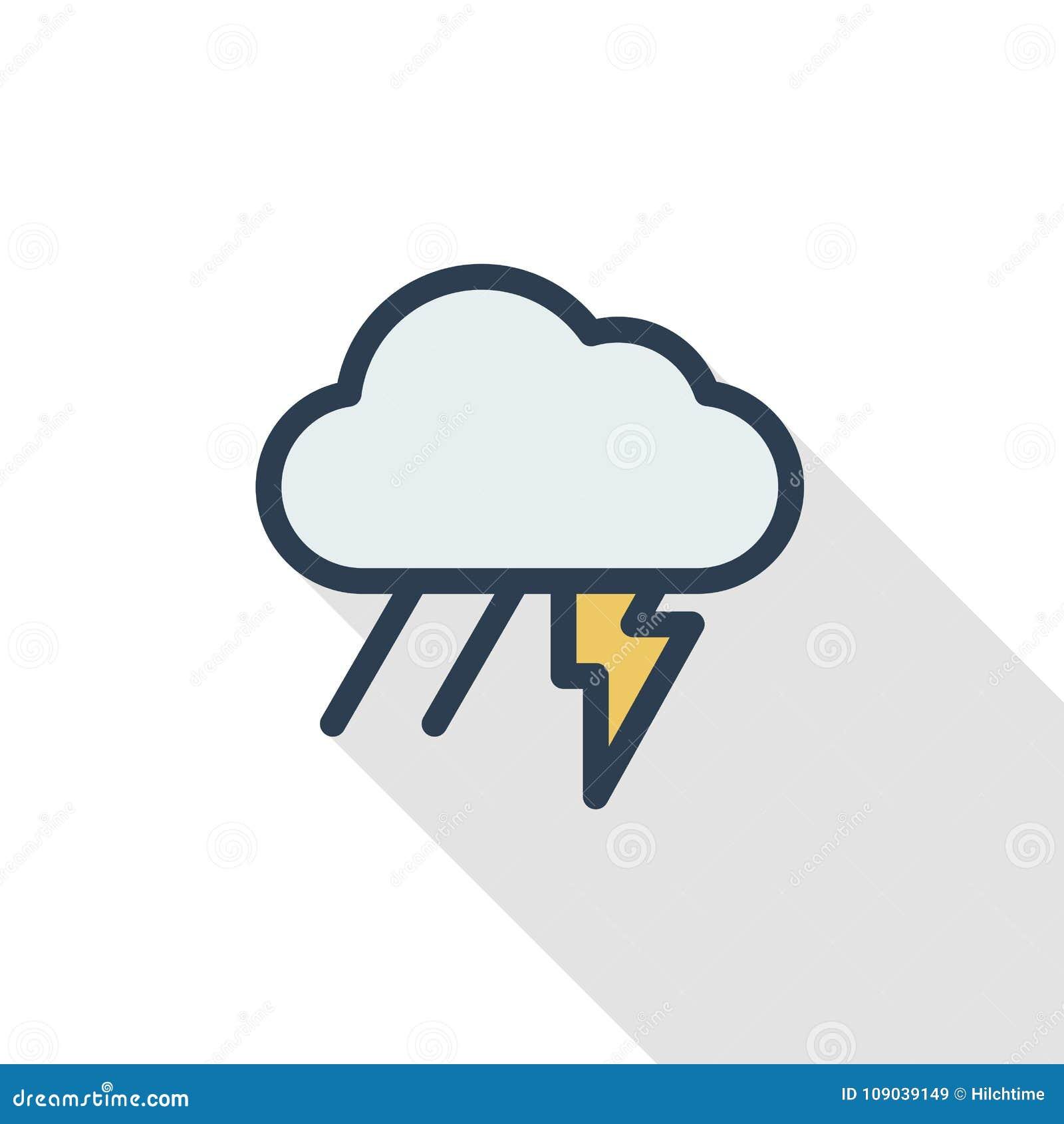 Αστραπή, θύελλα βροντής, βροχή και λεπτό εικονίδιο χρώματος γραμμών σύννεφων επίπεδο Γραμμικό διανυσματικό σύμβολο Ζωηρόχρωμο μακ