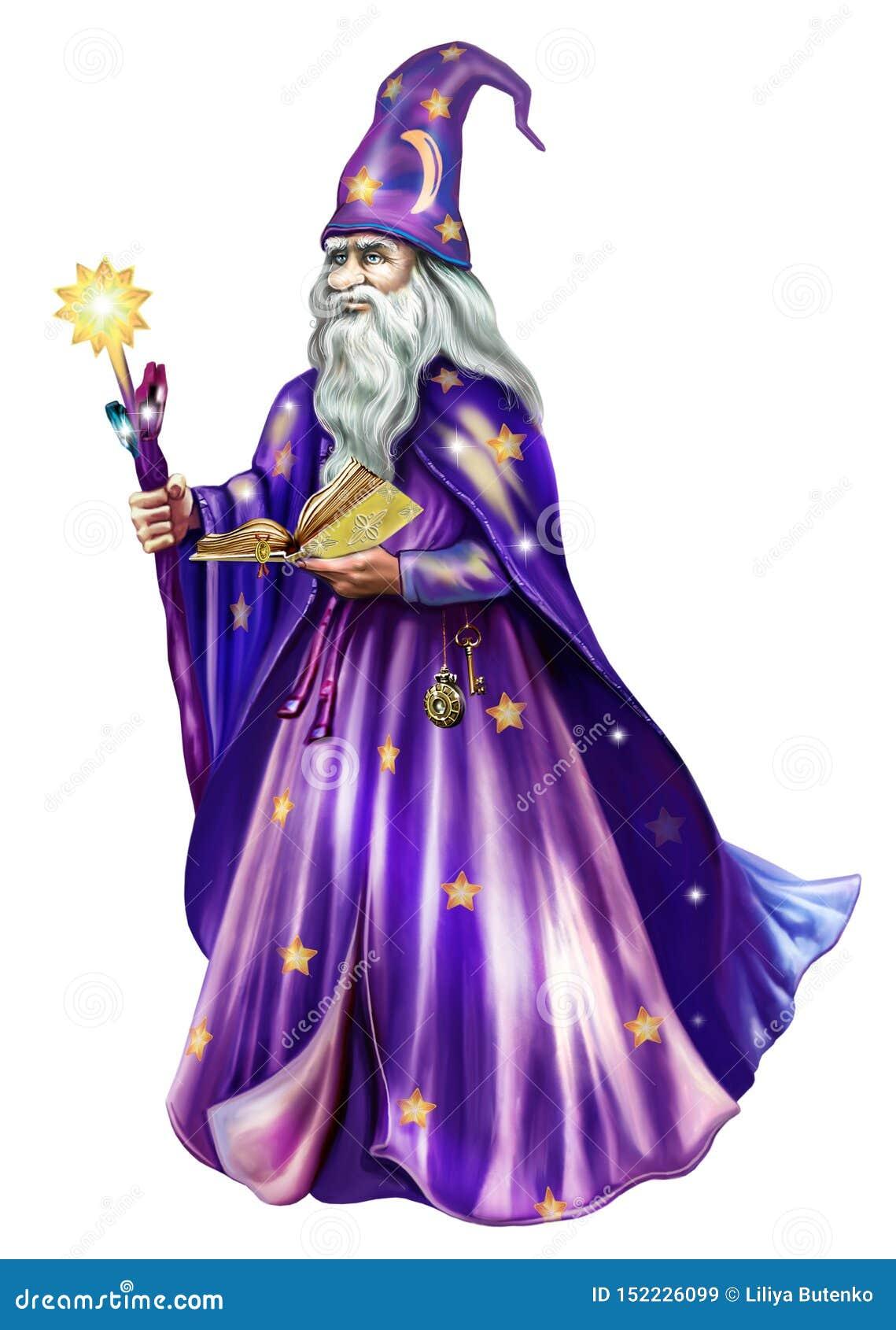 Αστρολόγος σε ένα καπέλο και έναν μανδύα