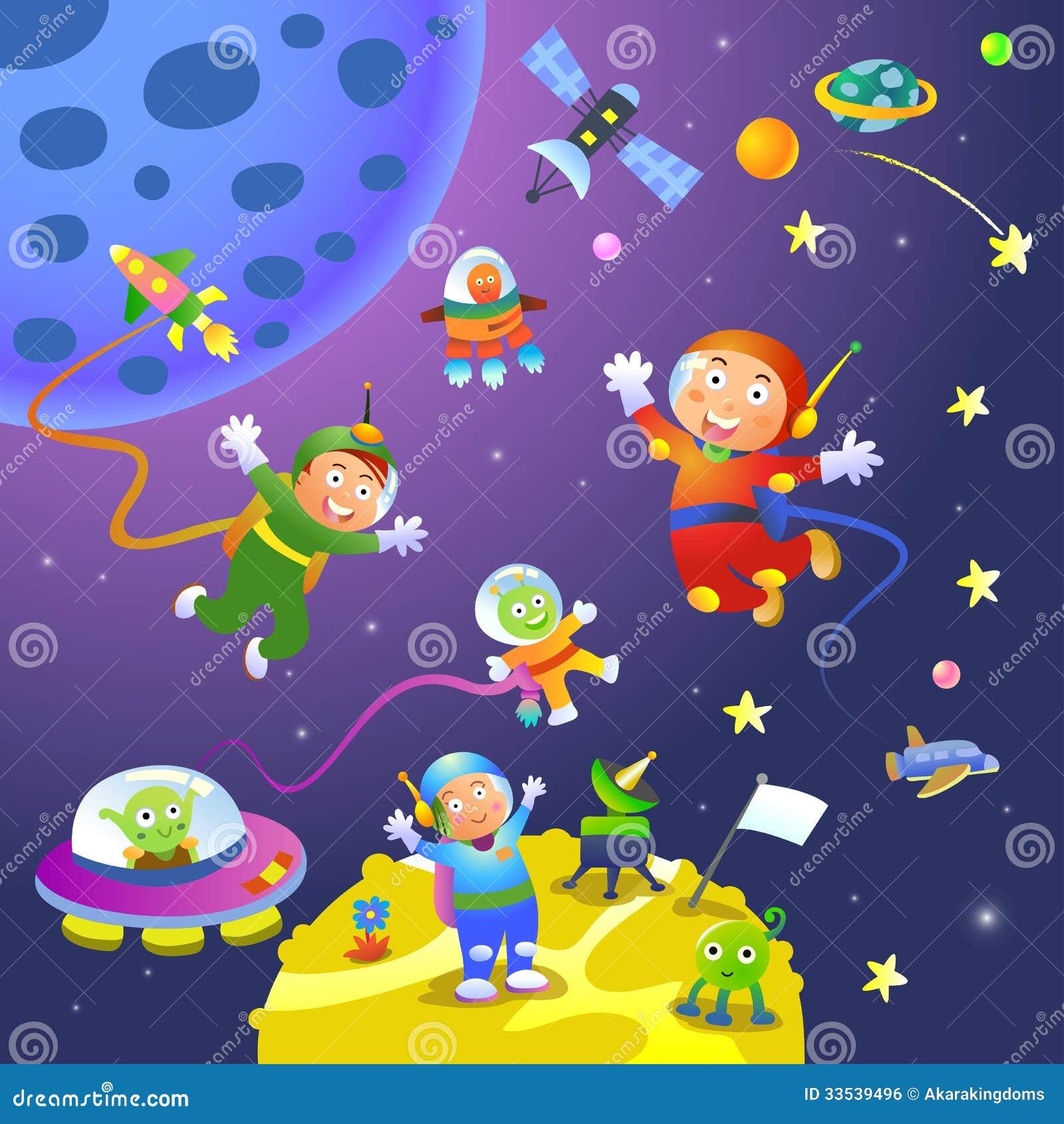 Αστροναύτης κοριτσιών αγοριών στις διαστημικές σκηνές
