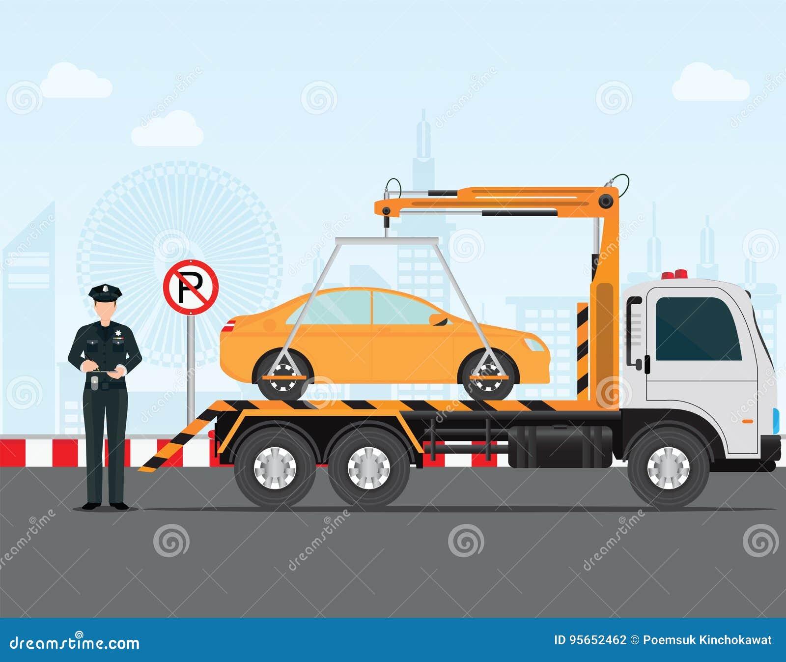 Αστυνομικός κυκλοφορίας που γράφει ένα εισιτήριο χώρων στάθμευσης στο αυτοκίνητο σε κανέναν χώρο στάθμευσης
