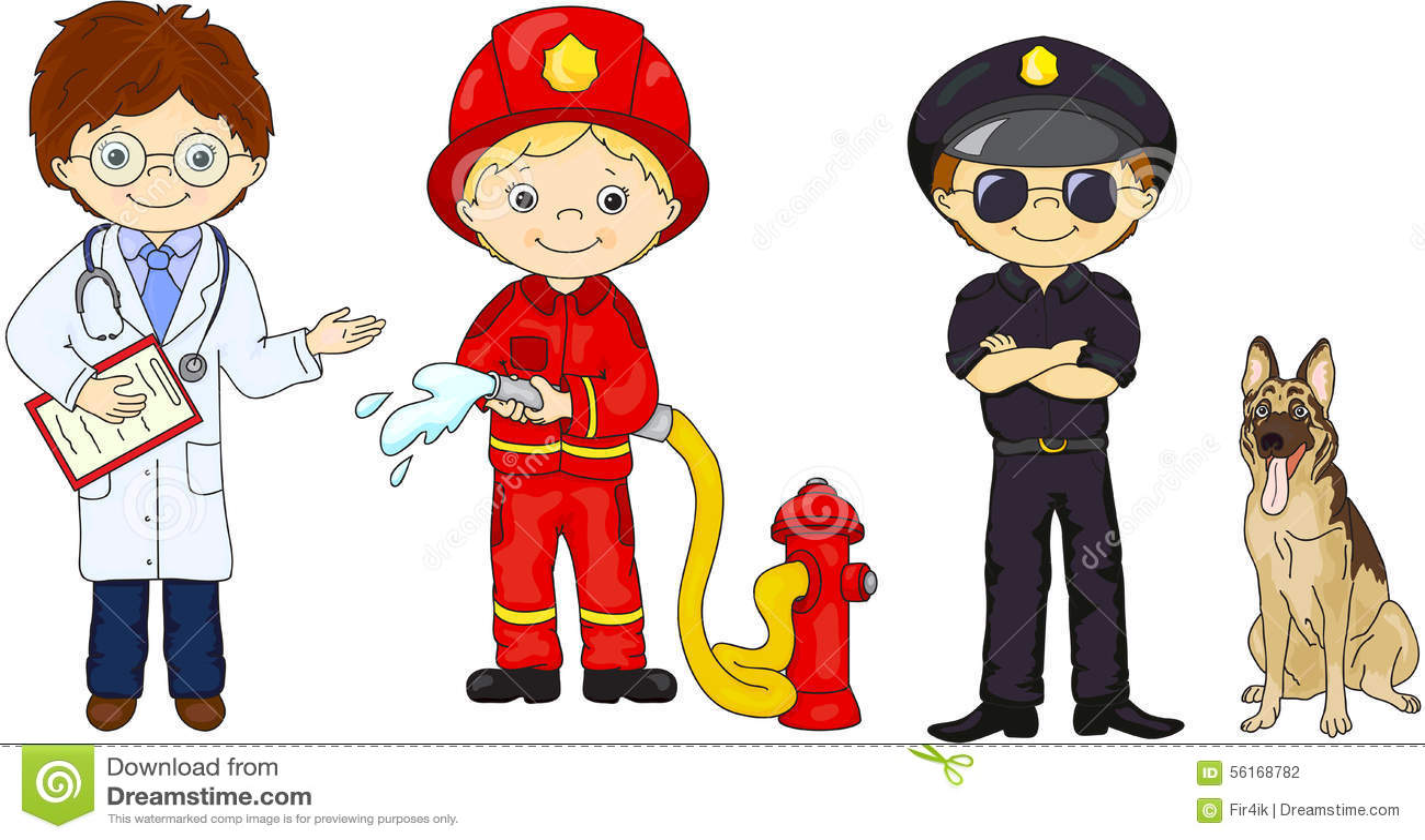 Αστυνομικός, πυροσβέστης και γιατρός στη στολή τους