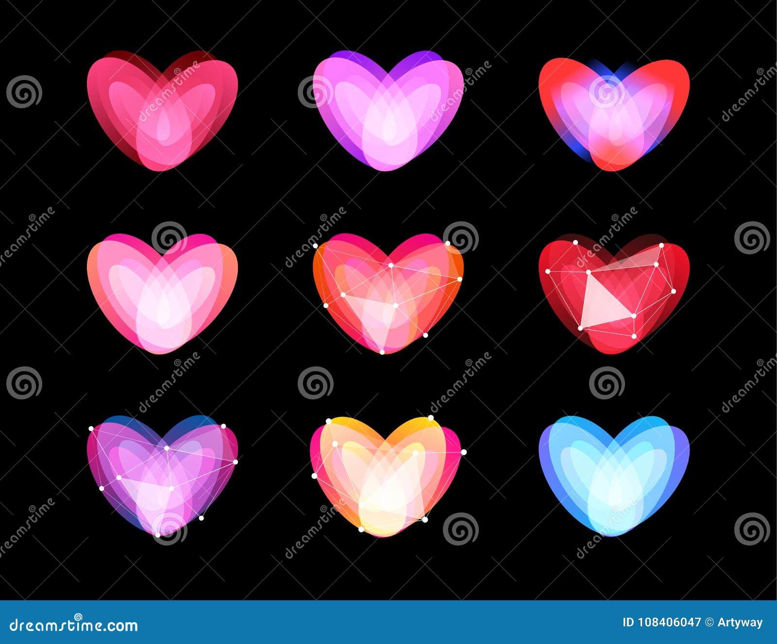 Ασυνήθιστη συλλογή καρδιών ομορφιάς Αφηρημένο polygonal σχέδιο Σύμβολα ημέρας βαλεντίνων, διανυσματικό ilustration Λογότυπο αγάπη