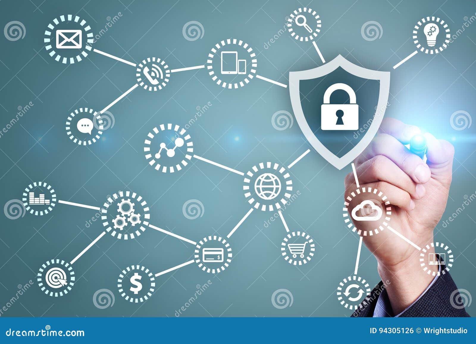 Ασφάλεια Cyber, προστασία δεδομένων, ασφάλεια πληροφοριών Έννοια τεχνολογίας Διαδικτύου