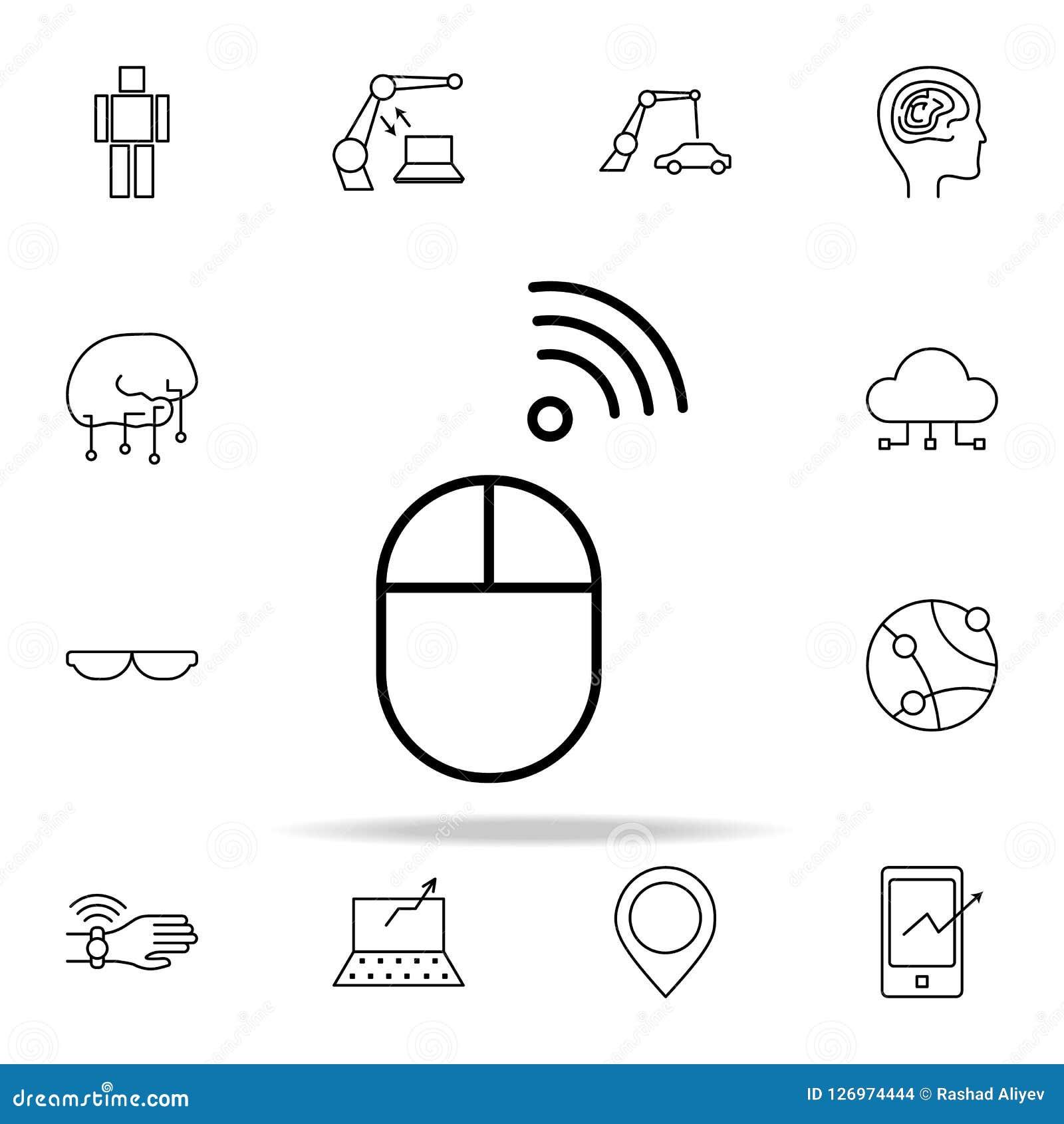 Ασύρματο εικονίδιο ποντικιών Καθολικό εικονιδίων νέων τεχνολογιών που τίθεται για τον Ιστό και κινητό