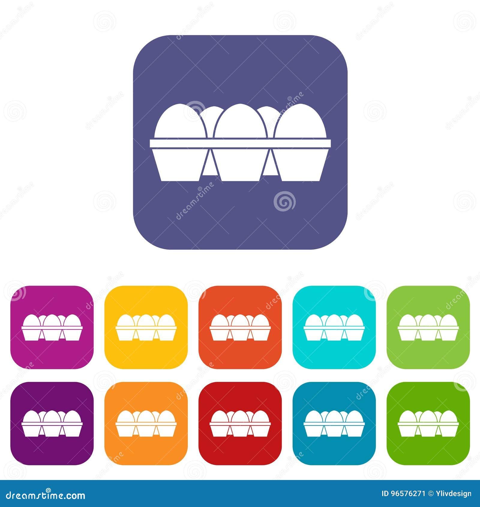 Αυγά στα εικονίδια συσκευασίας χαρτοκιβωτίων καθορισμένα