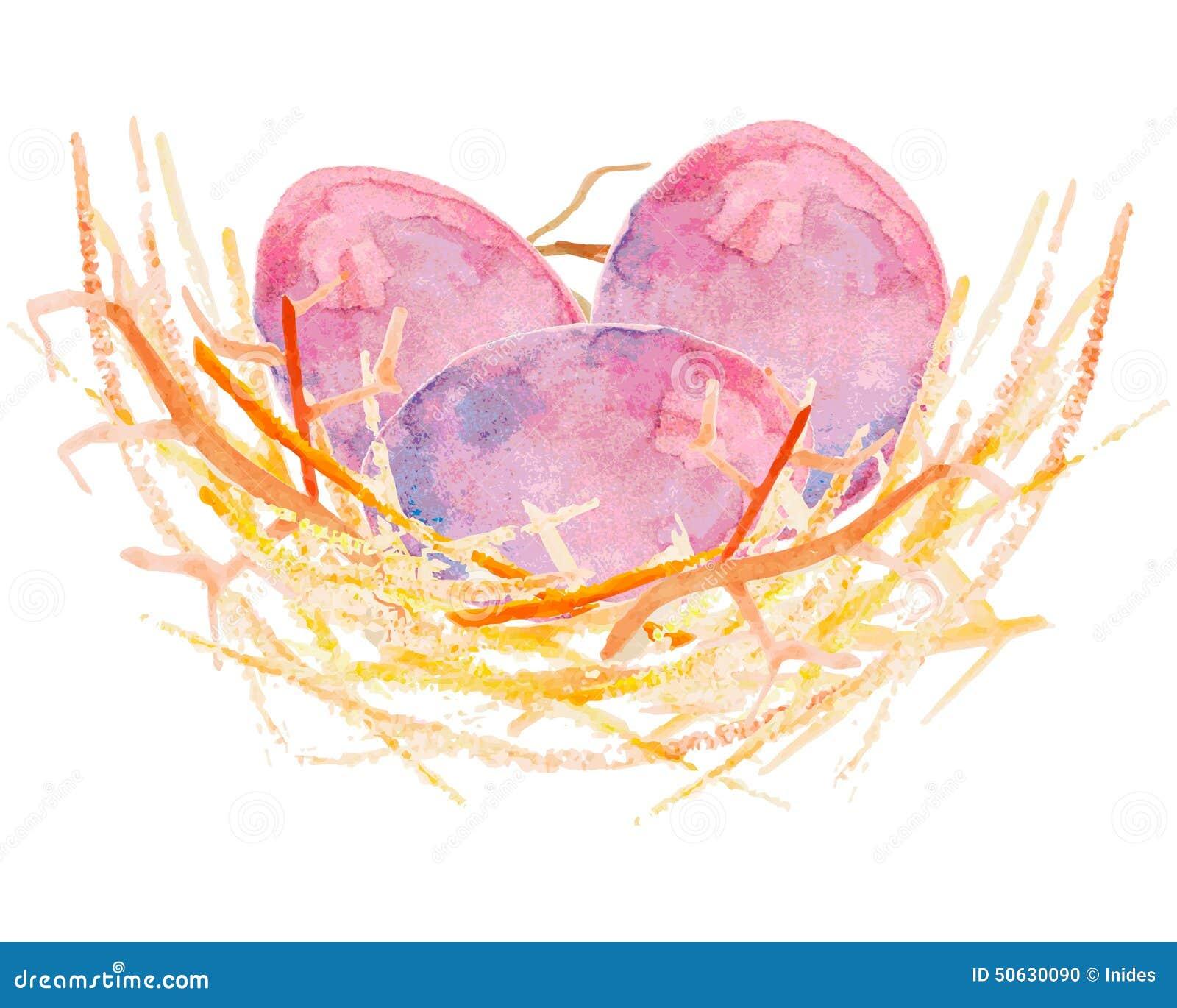 Αυγά Watercolor σε μια φωλιά