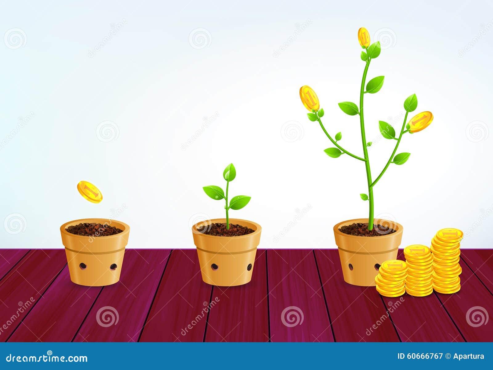 Αυξανόμενο δέντρο χρημάτων Επιτυχής έννοια αύξησης επιχειρησιακής αποταμίευσης