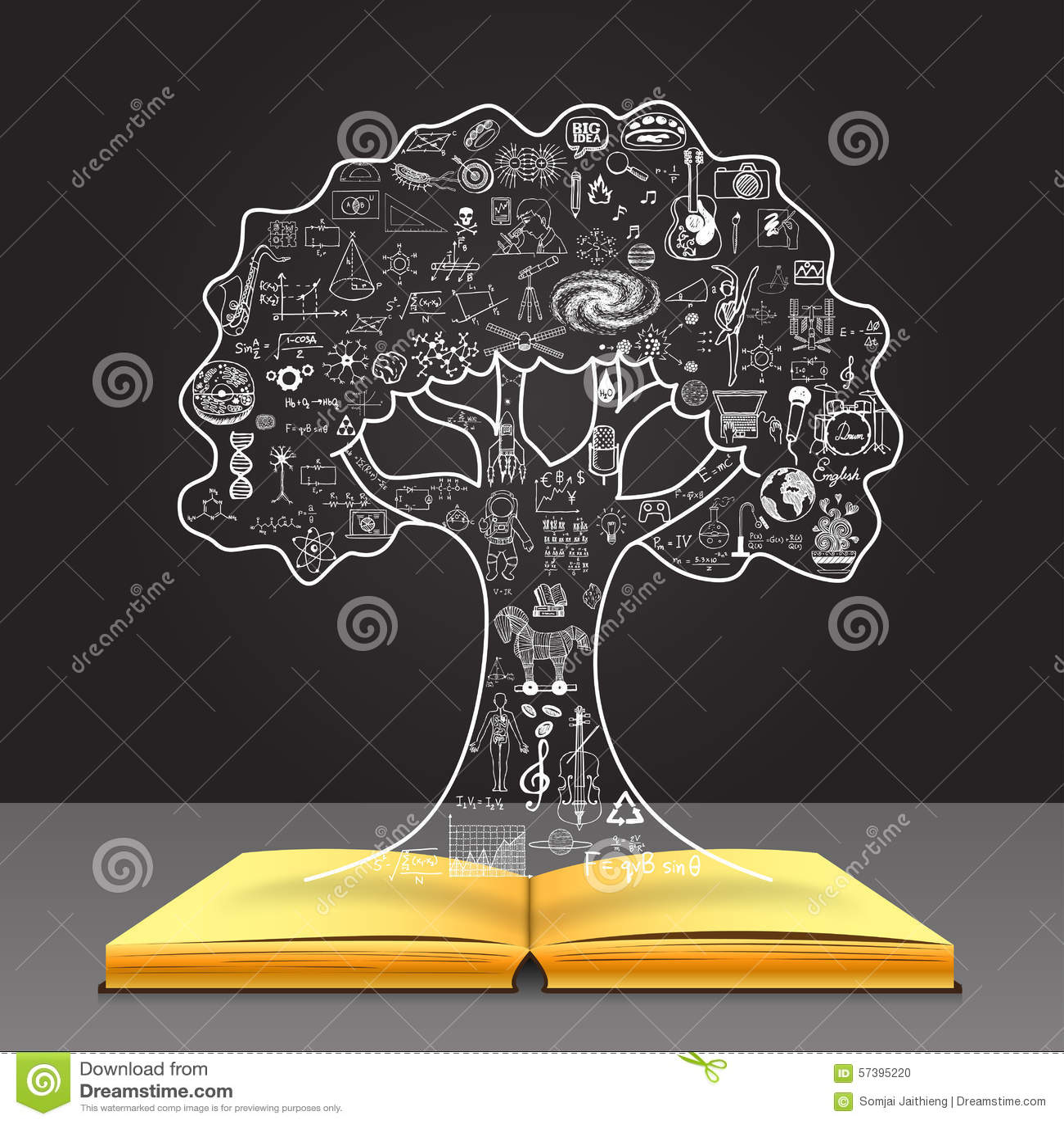 Αυξηθείτε την έννοια γνώσης σας Εκπαίδευση doodles στη μορφή δέντρων στο ανοικτό βιβλίο