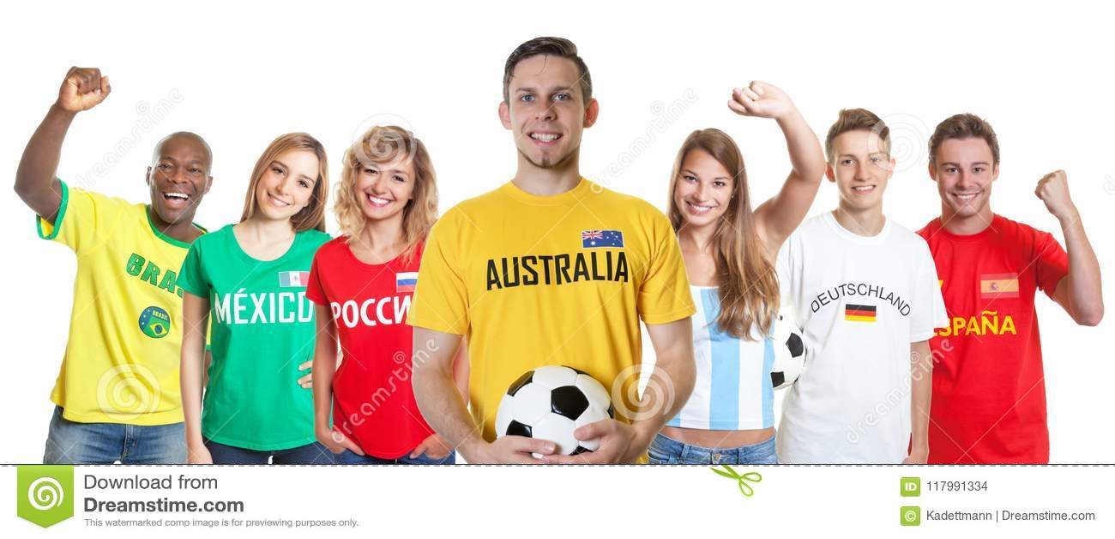 Αυστραλιανός υποστηρικτής ποδοσφαίρου με τους ανεμιστήρες από άλλες χώρες
