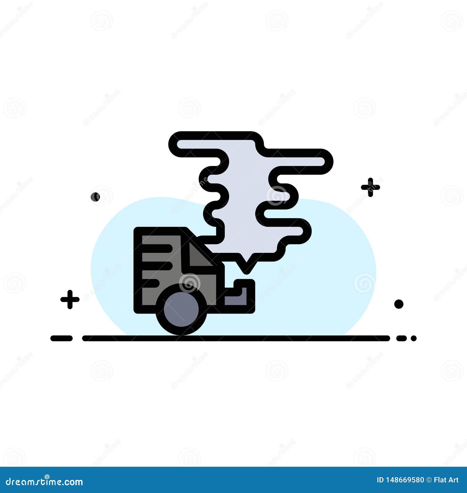 Αυτοκίνητο, αυτοκίνητο, εκπομπή, αέριο, ρύπανσης πρότυπο εμβλημάτων επιχειρησιακών επίπεδο γεμισμένο γραμμή εικονιδίων διανυσματι